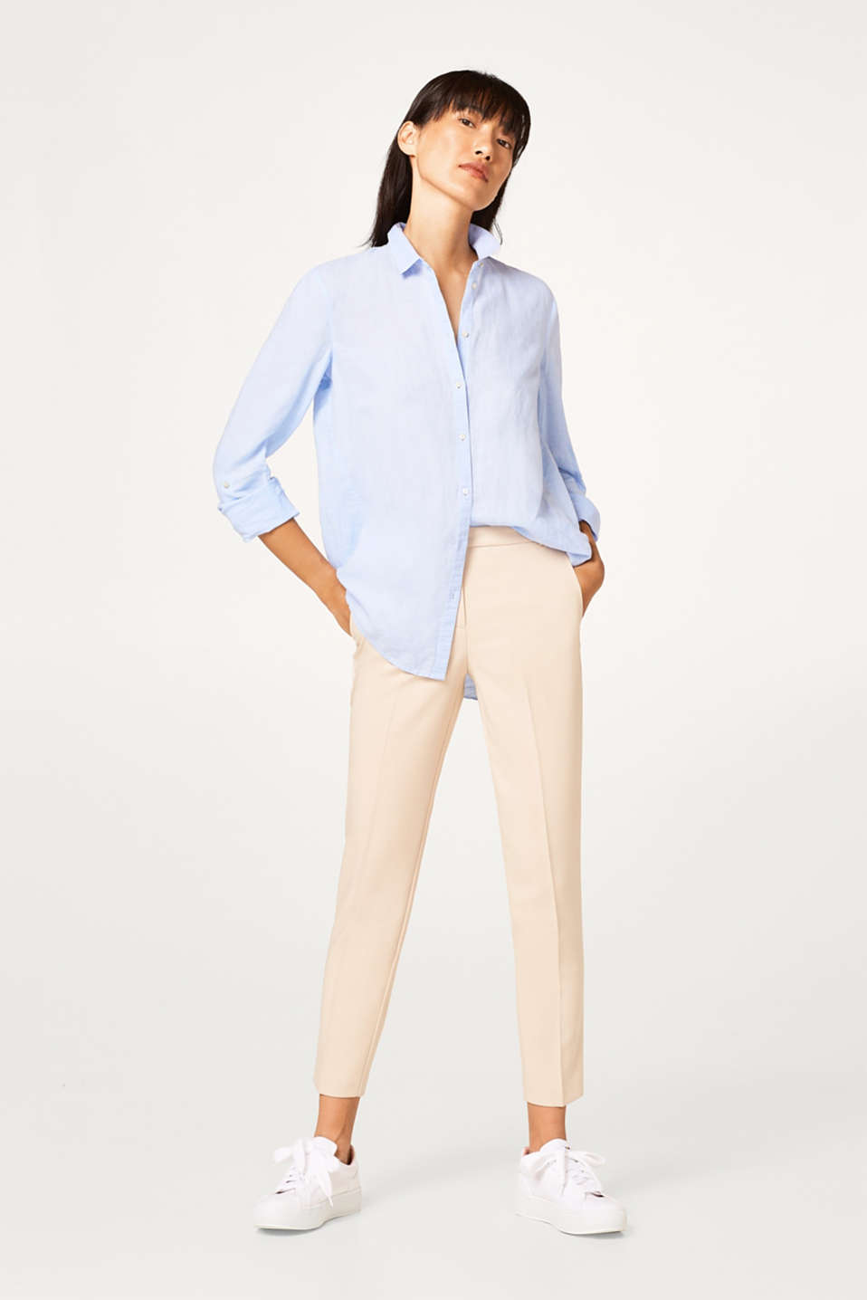 Esprit - Fine twill trousers with stretch for comfort