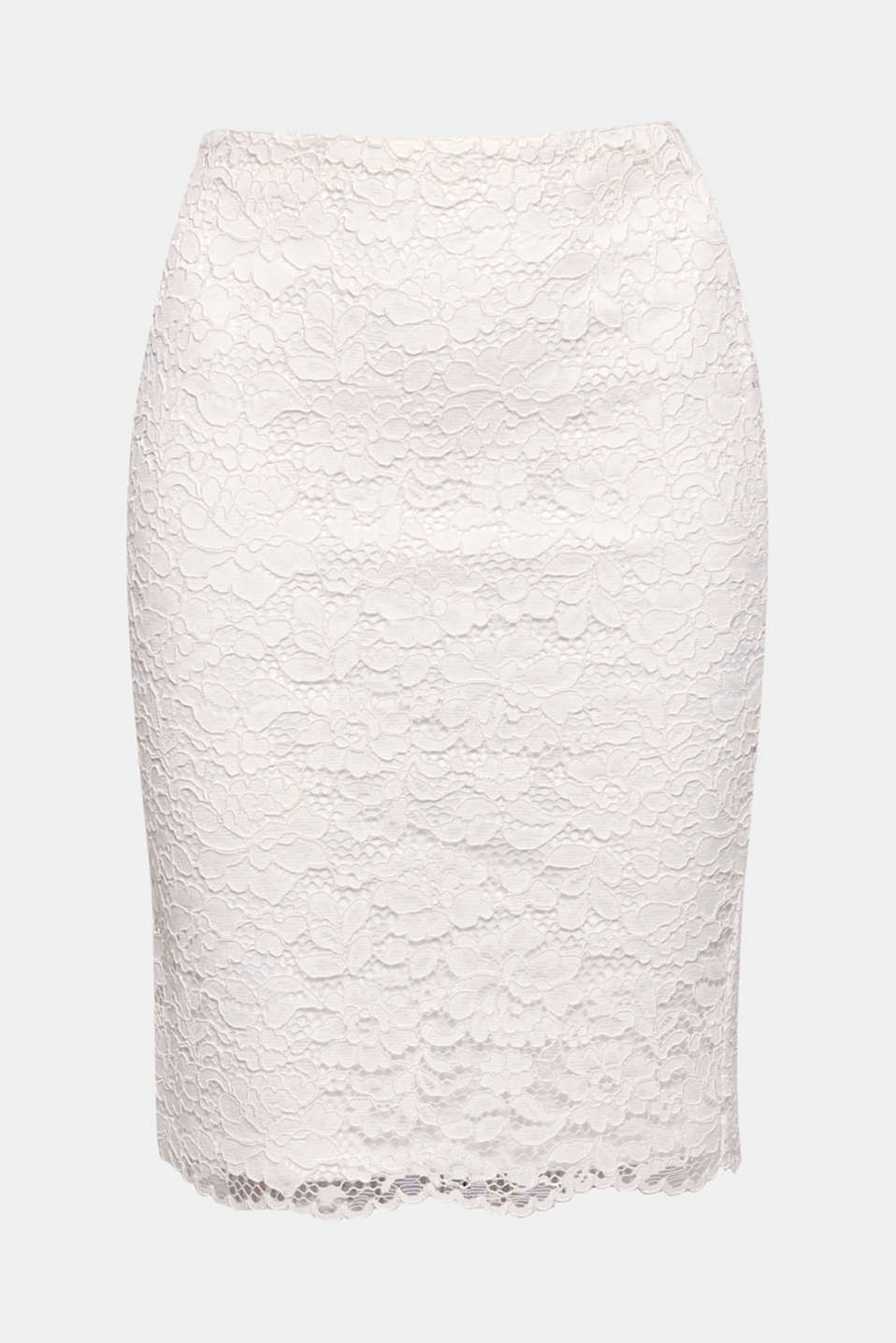 The narrow fit and floral lace in a 3D look give this sheath skirt its feminine elegance!