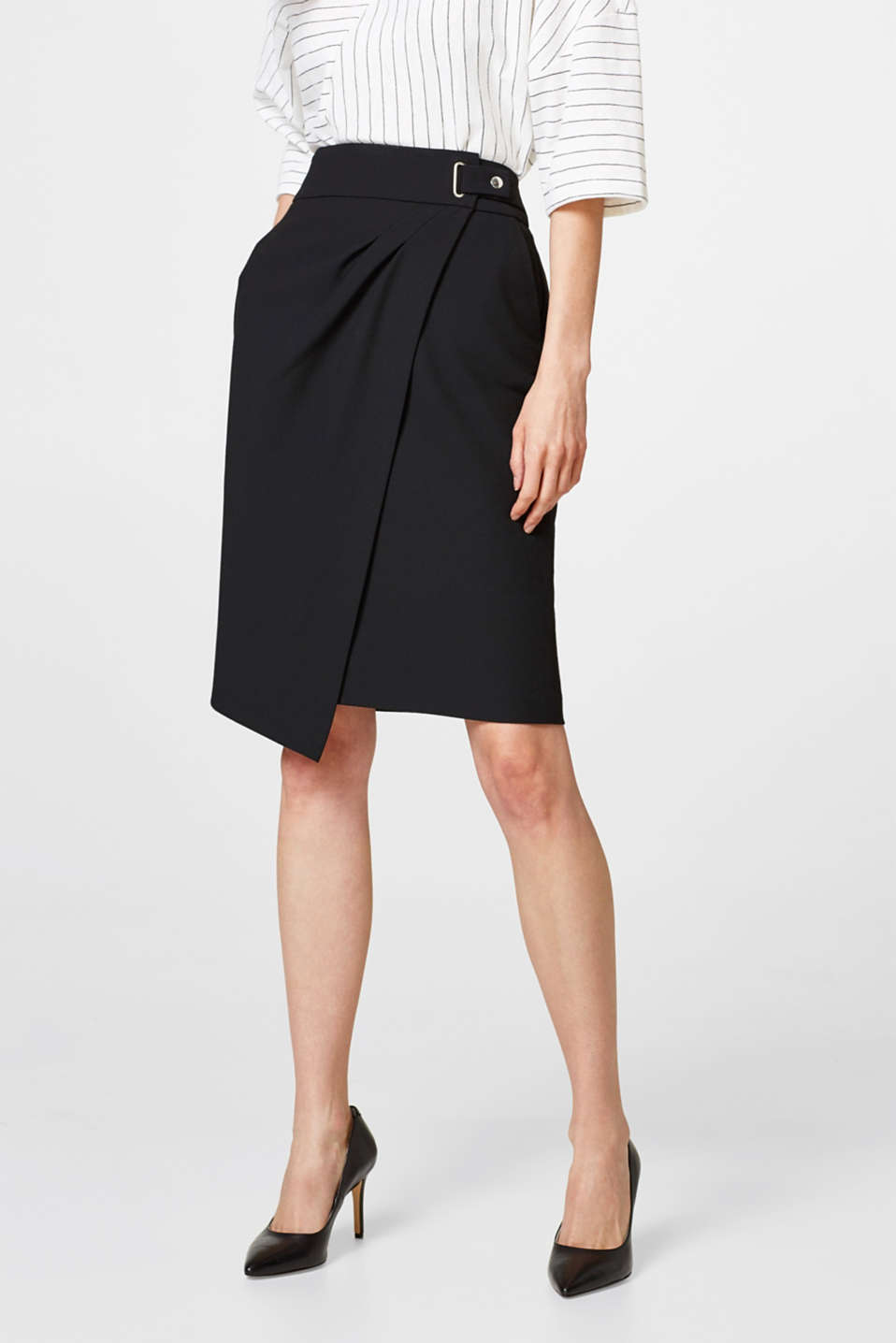 Esprit - Crêpe skirt with a wrap-over effect