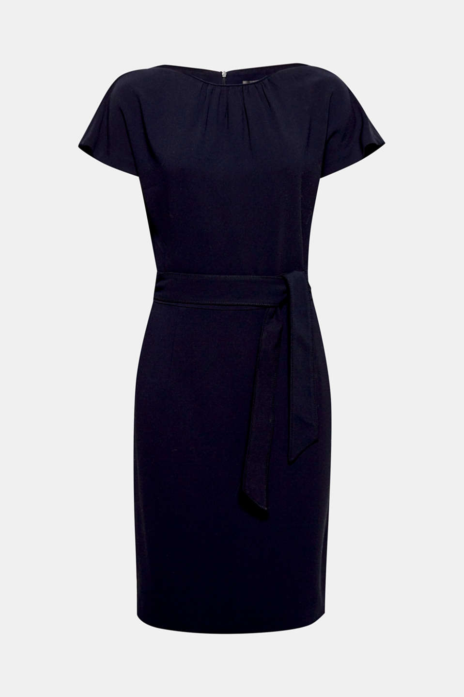 Moderner minimalism! This dress owes its elegant look to the pared back design and fine details like a tie-around belt and dropped shoulders.