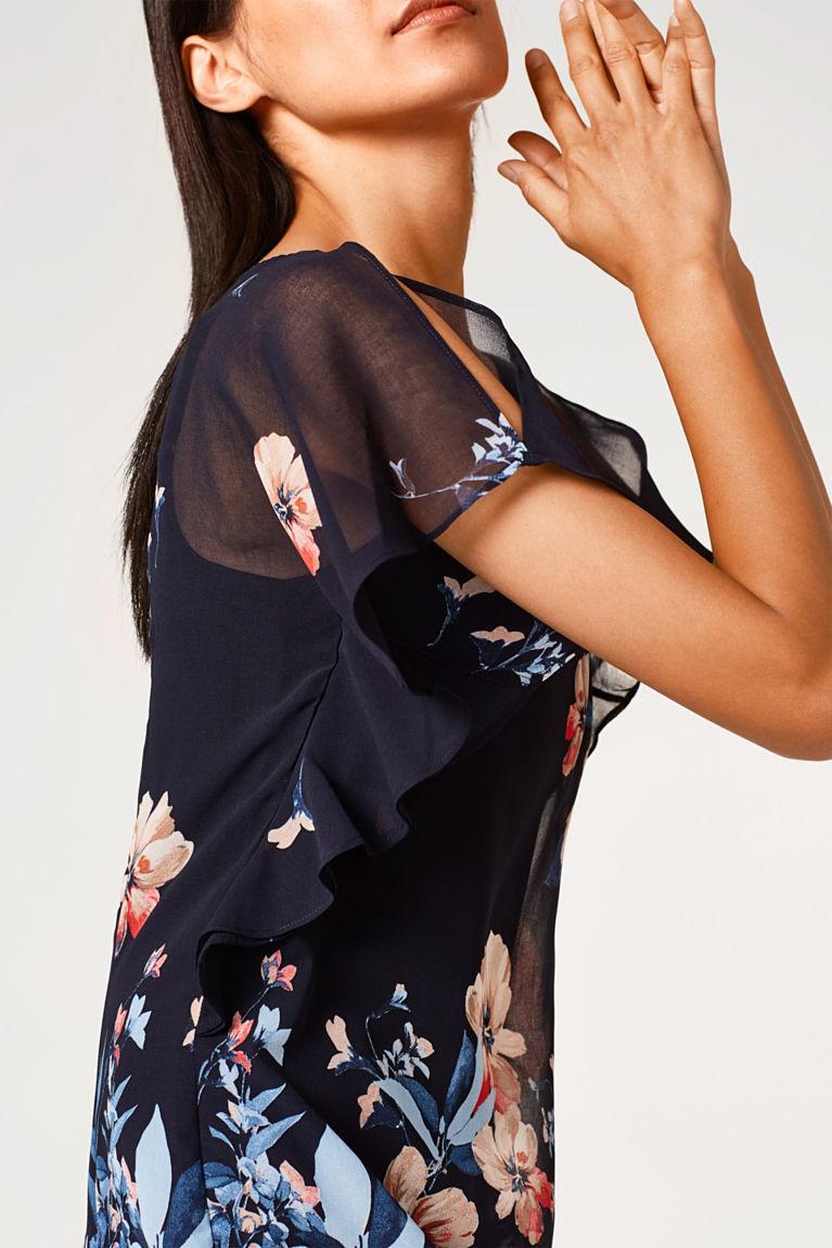 Zartes Chiffon-Kleid mit Print und Flügelärmeln