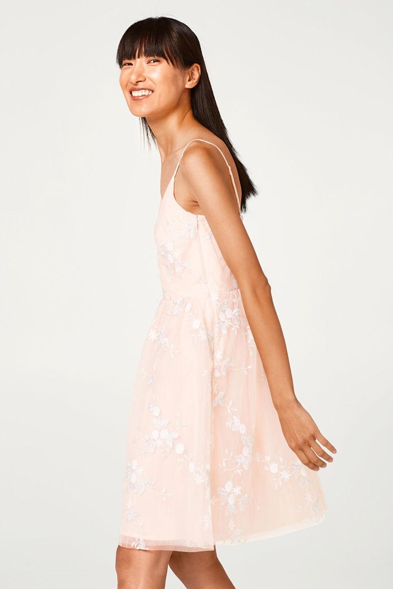 Tüll-Kleid mit Blumen-Dessin