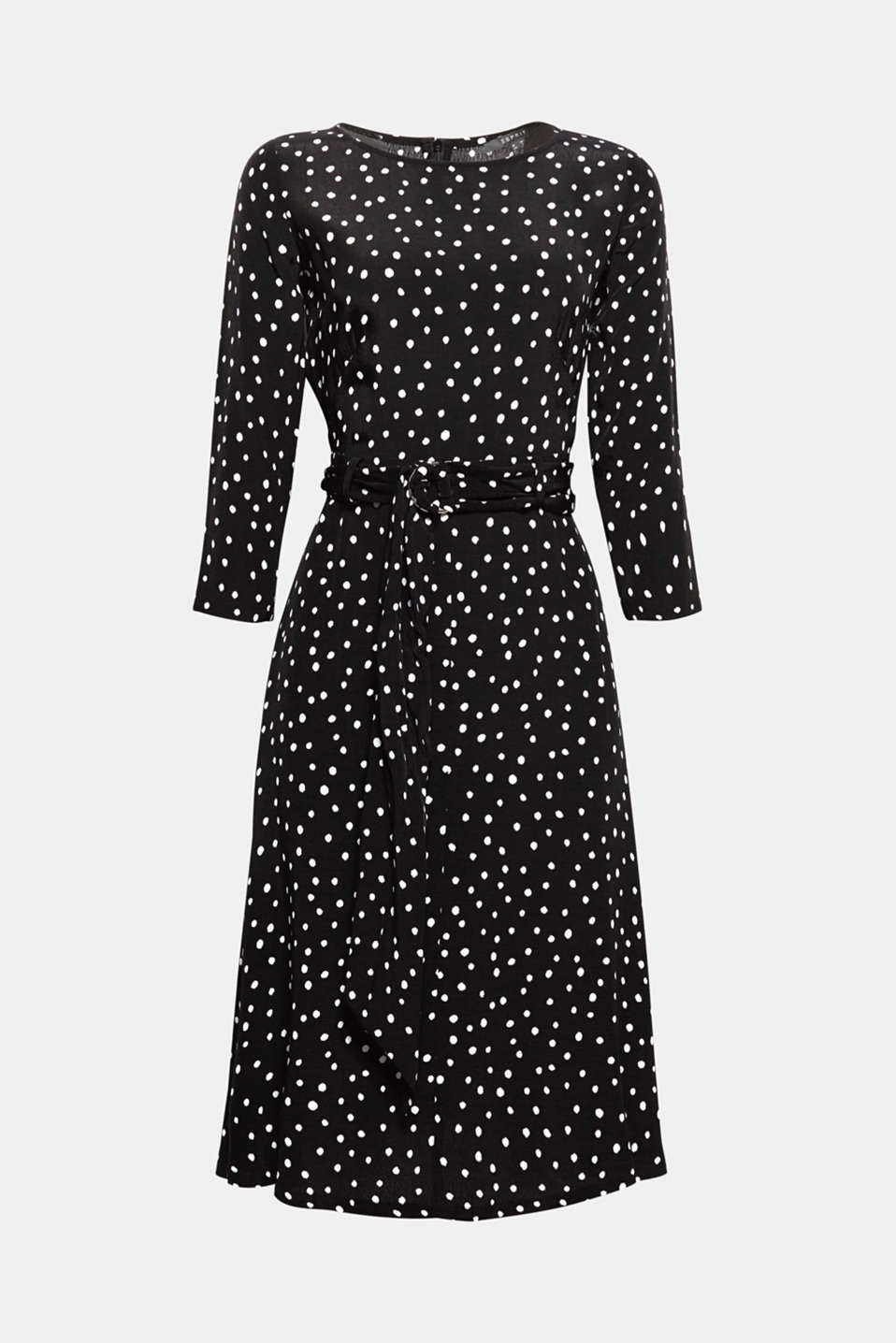 We love polka dots! With its polka dot pattern, belt and wide skirt, this dress exudes oodles of charm.