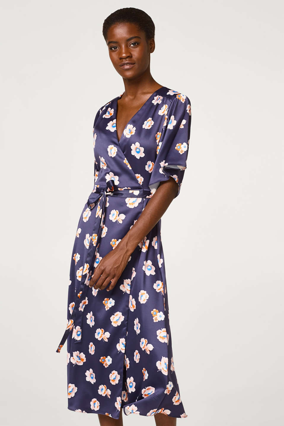 Esprit - Midi length wrap dress with floral print