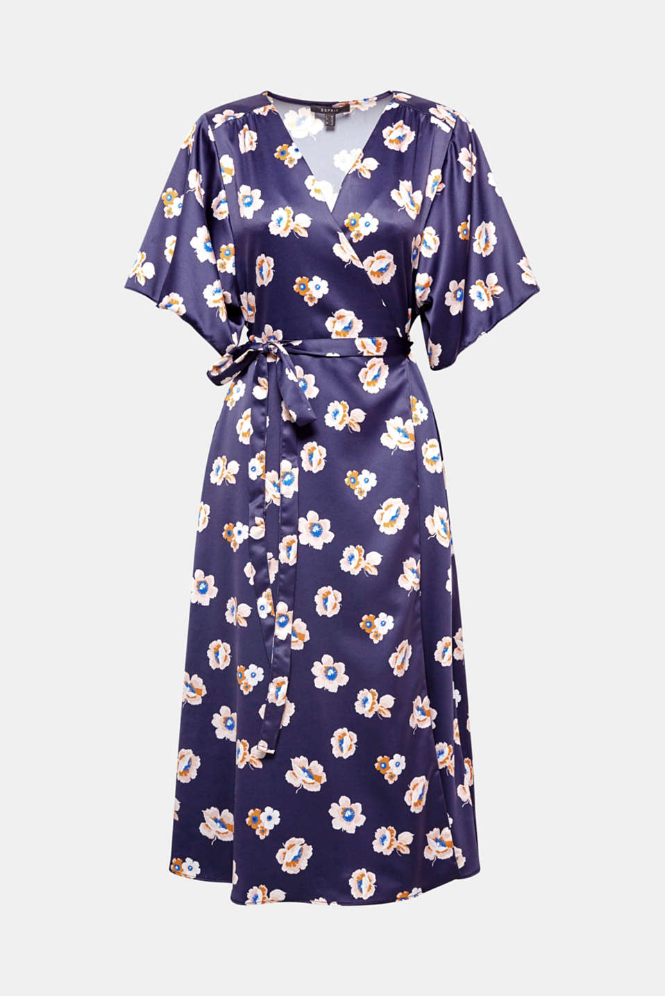 Flower power with a wrap-over effect! Delicately draped jersey wrap dress with a fixed skirt and ties at the sides.