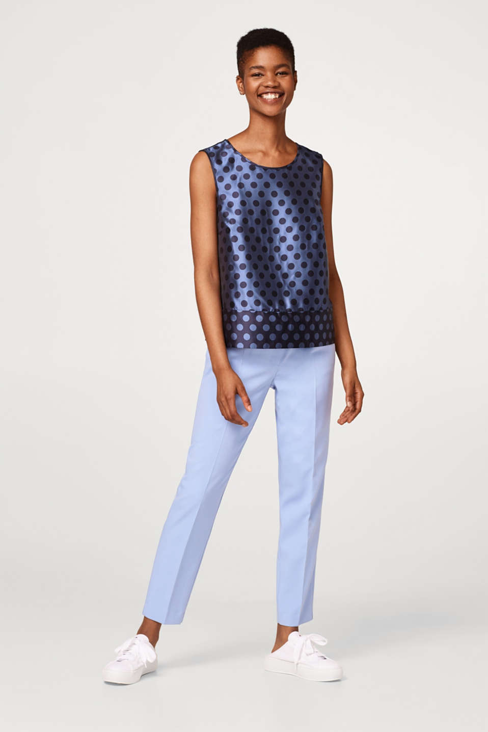 Jacquard blouse with polka dot pattern