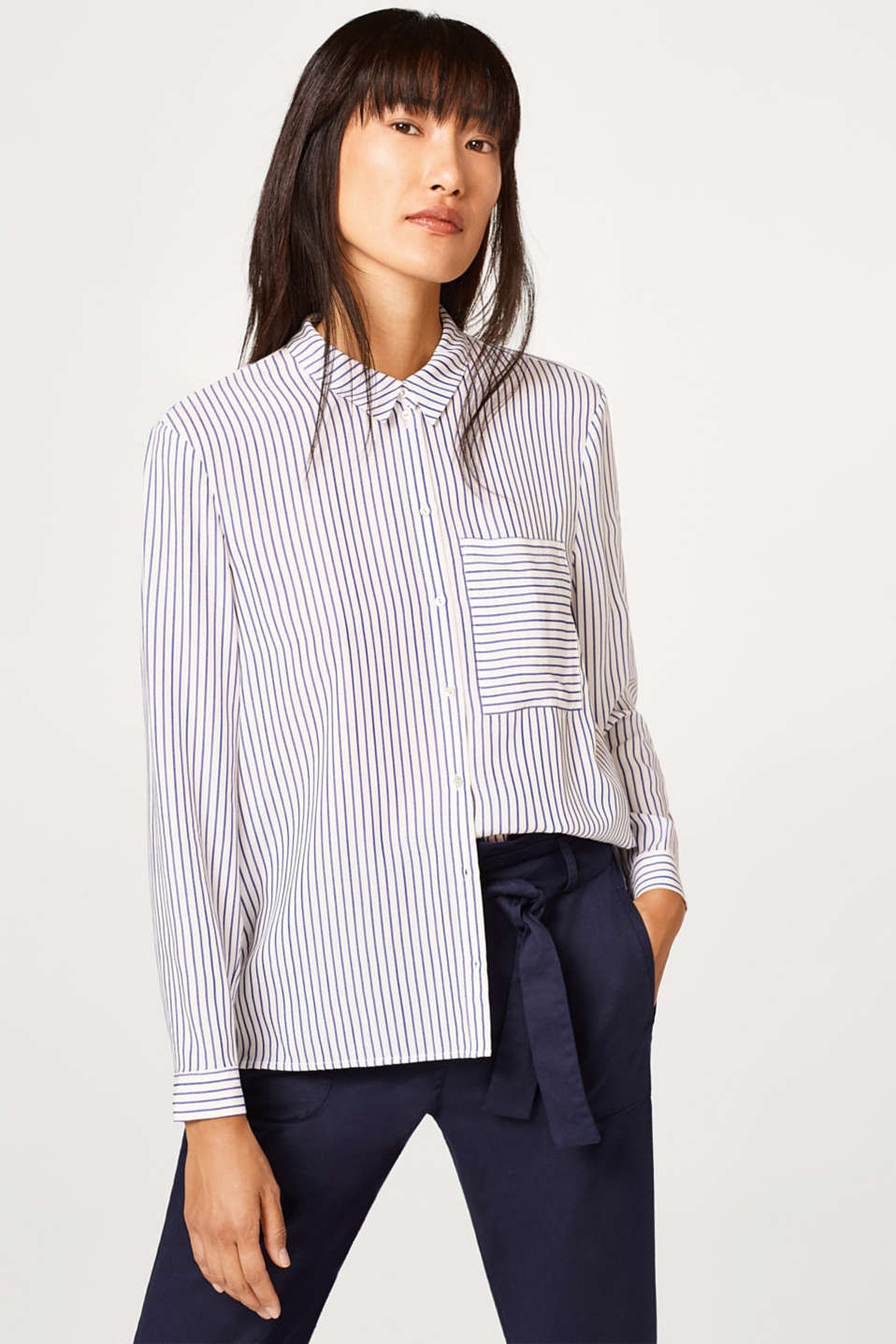 Esprit - Lightweight striped blouse with a large front pocket