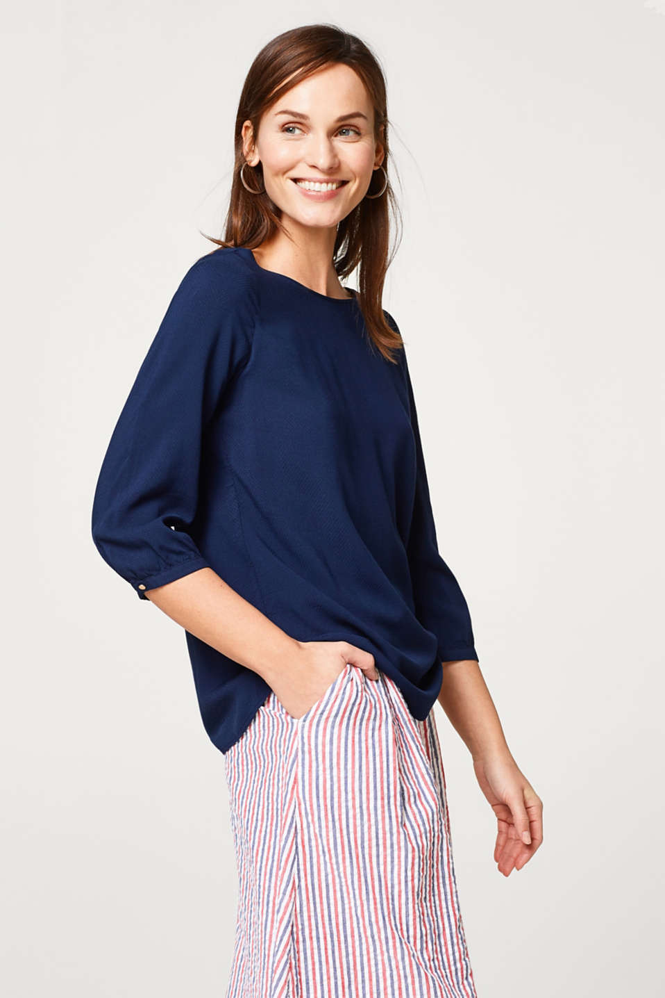 Esprit - Lightweight textured blouse with three-quarter length sleeves