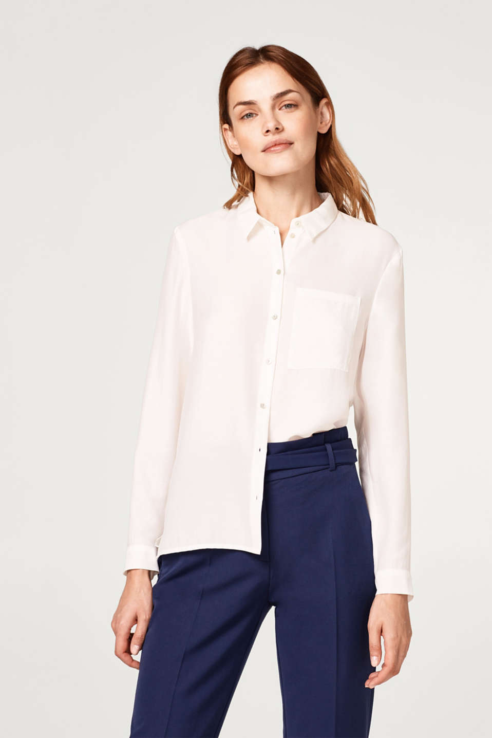 Esprit - Flowing crêpe blouse with a breast pocket