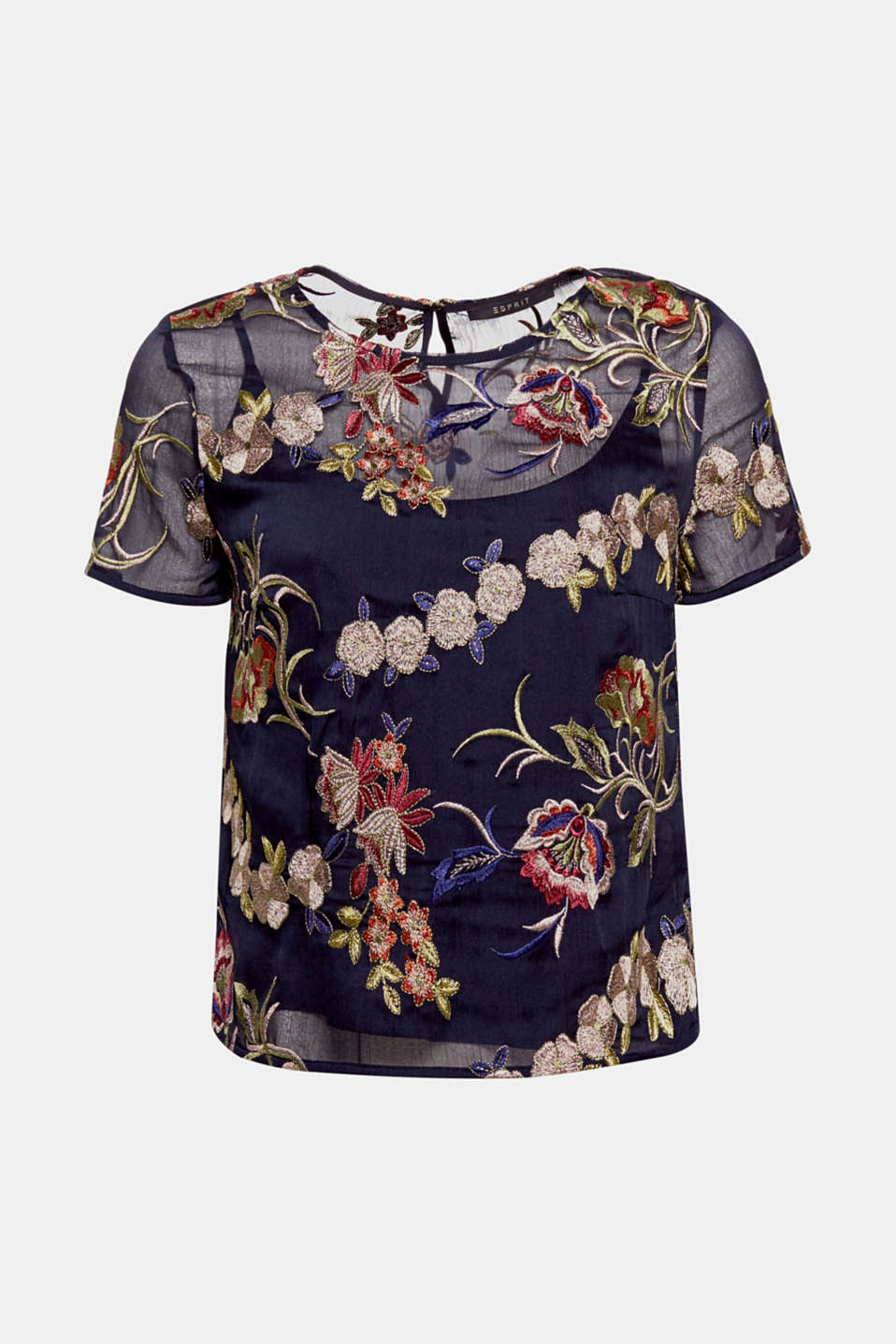 This blouse in a sheer crinkle chiffon with an integrated top is a bright eye catcher with its elaborate, colourful floral embroidery!