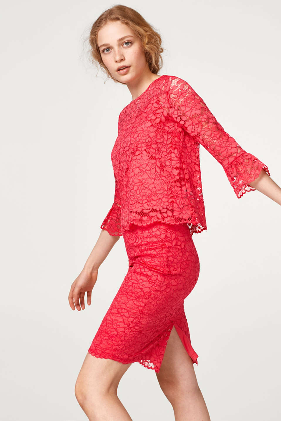 Esprit - Lace blouse with frilled sleeves