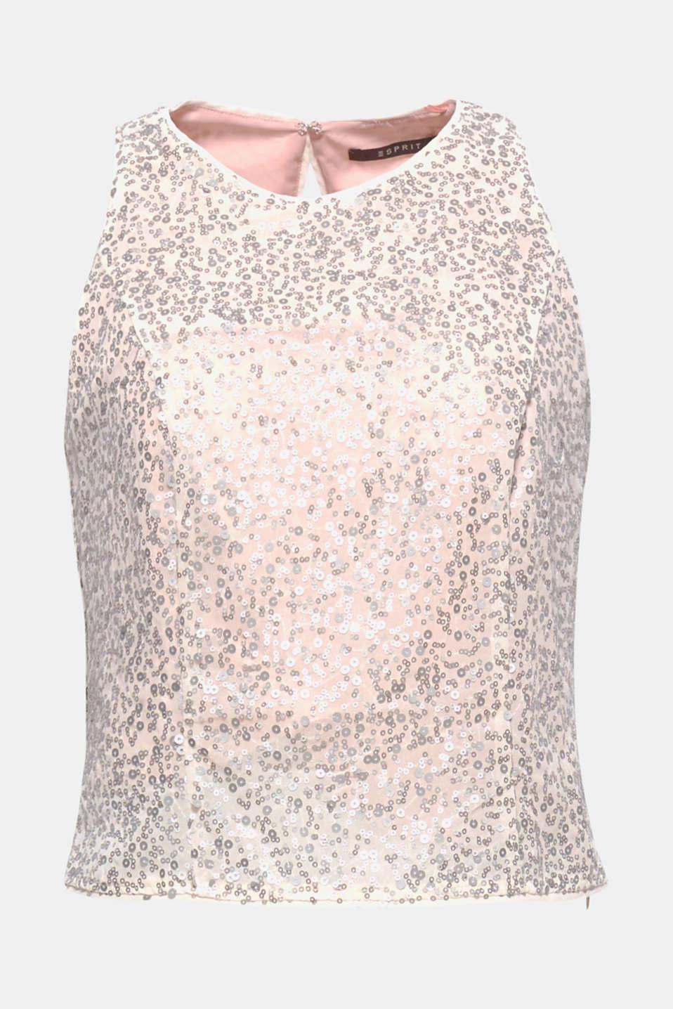 This top is a glamorous head-turner thanks to the delicate material embroidered with matte sequins!
