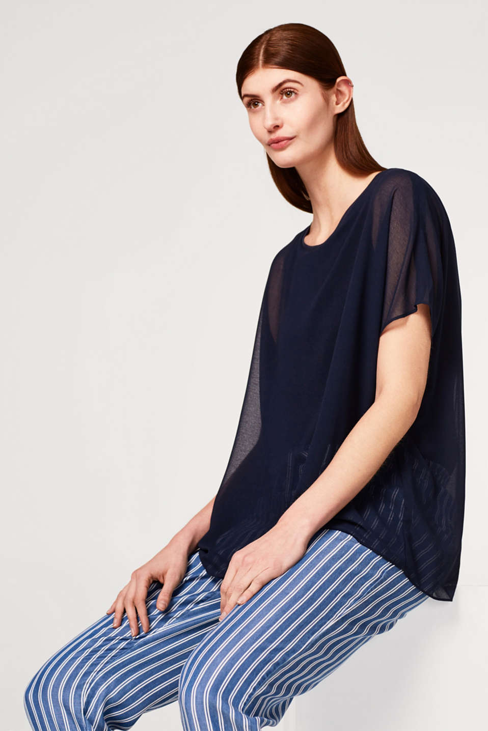 Esprit - Flowing, layered blouse with batwing sleeves