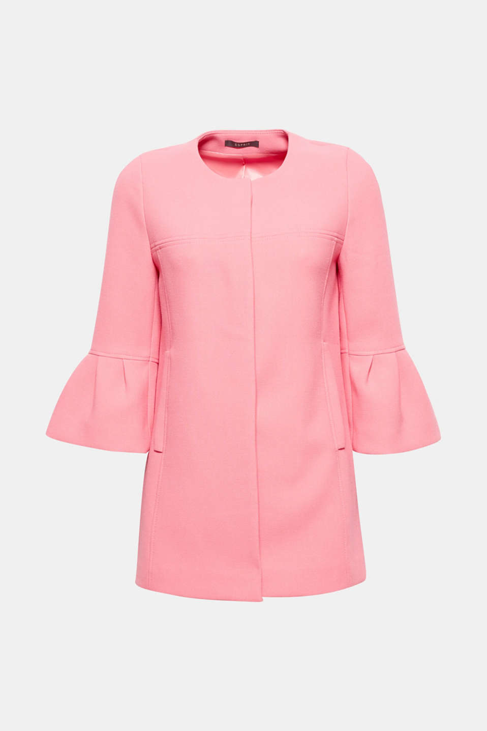 Feminine spring: the trendy shade, the cropped flounce sleeves and the flared silhouette give this coat its pretty charm!