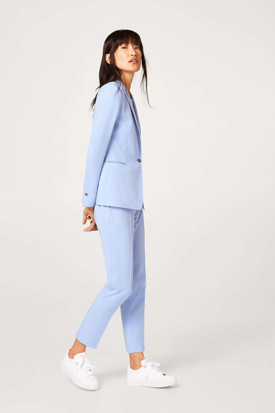 Fitted blazer in fine stretch twill