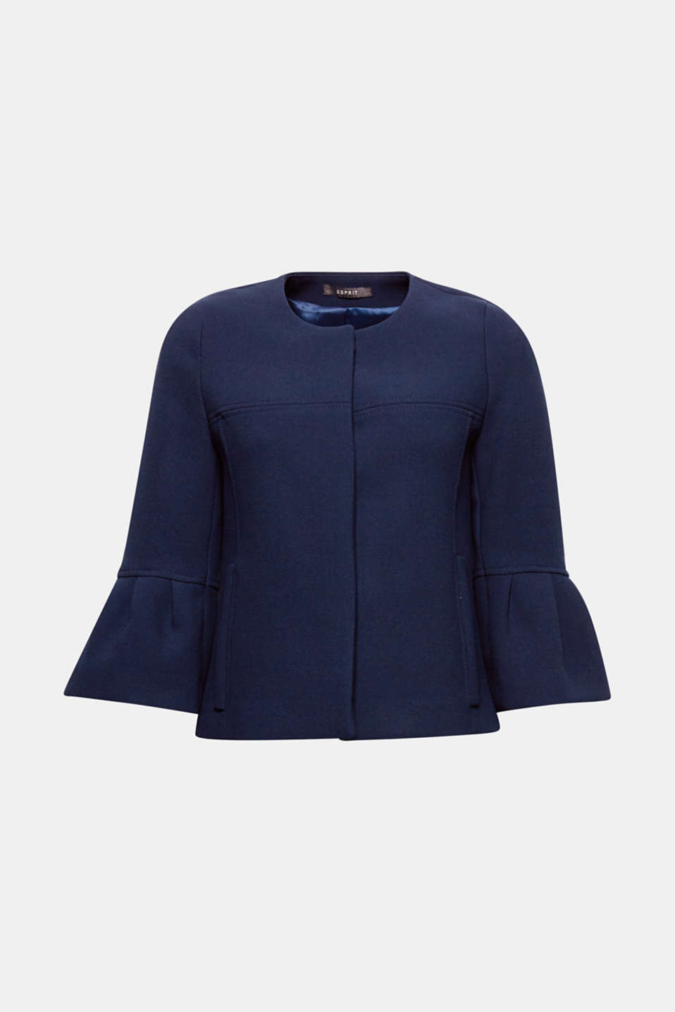 Trend piece: This boxy, short jacket with a fine texture and concealed button placket delights with its cropped flounce sleeves!