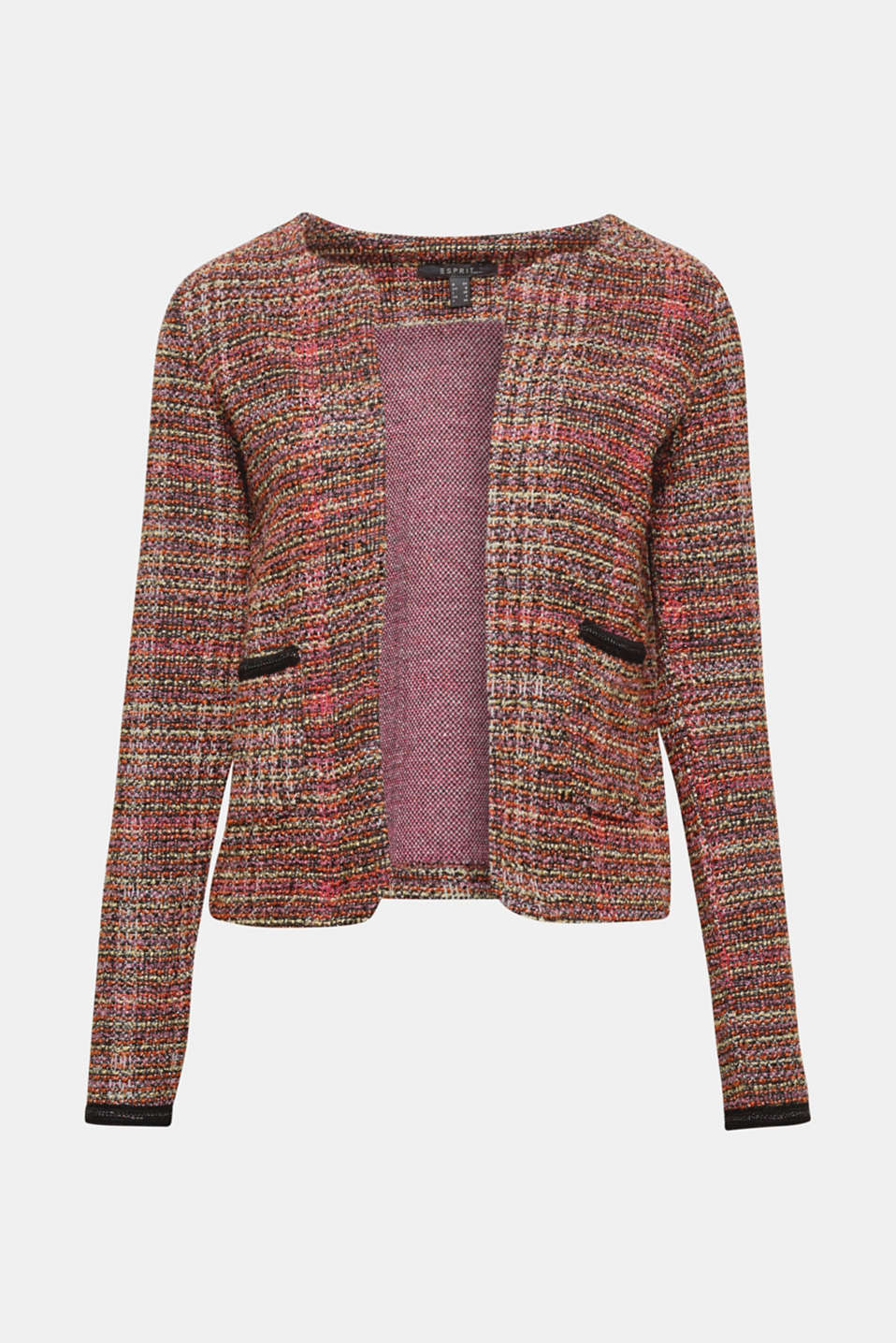 Casual chic: Open bouclé jacket with fine, decorative chains and patch pockets