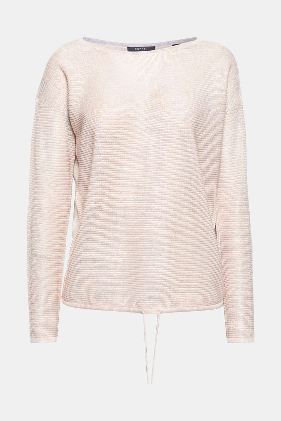 This fine rib jumper with a casual drawstring hem is airy and delicate!