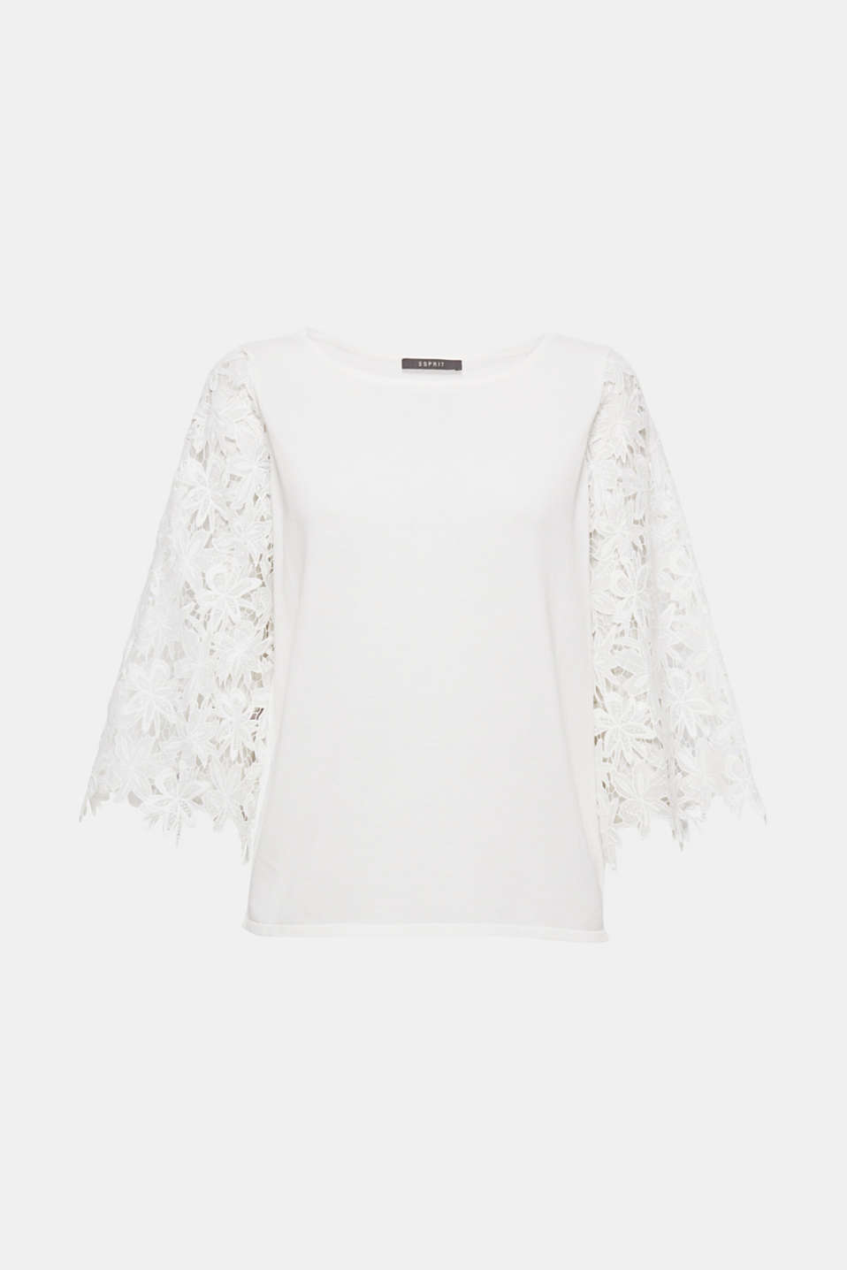 This soft, fine-knit jumper with floral lace sleeves is feminine, pretty and versatile.