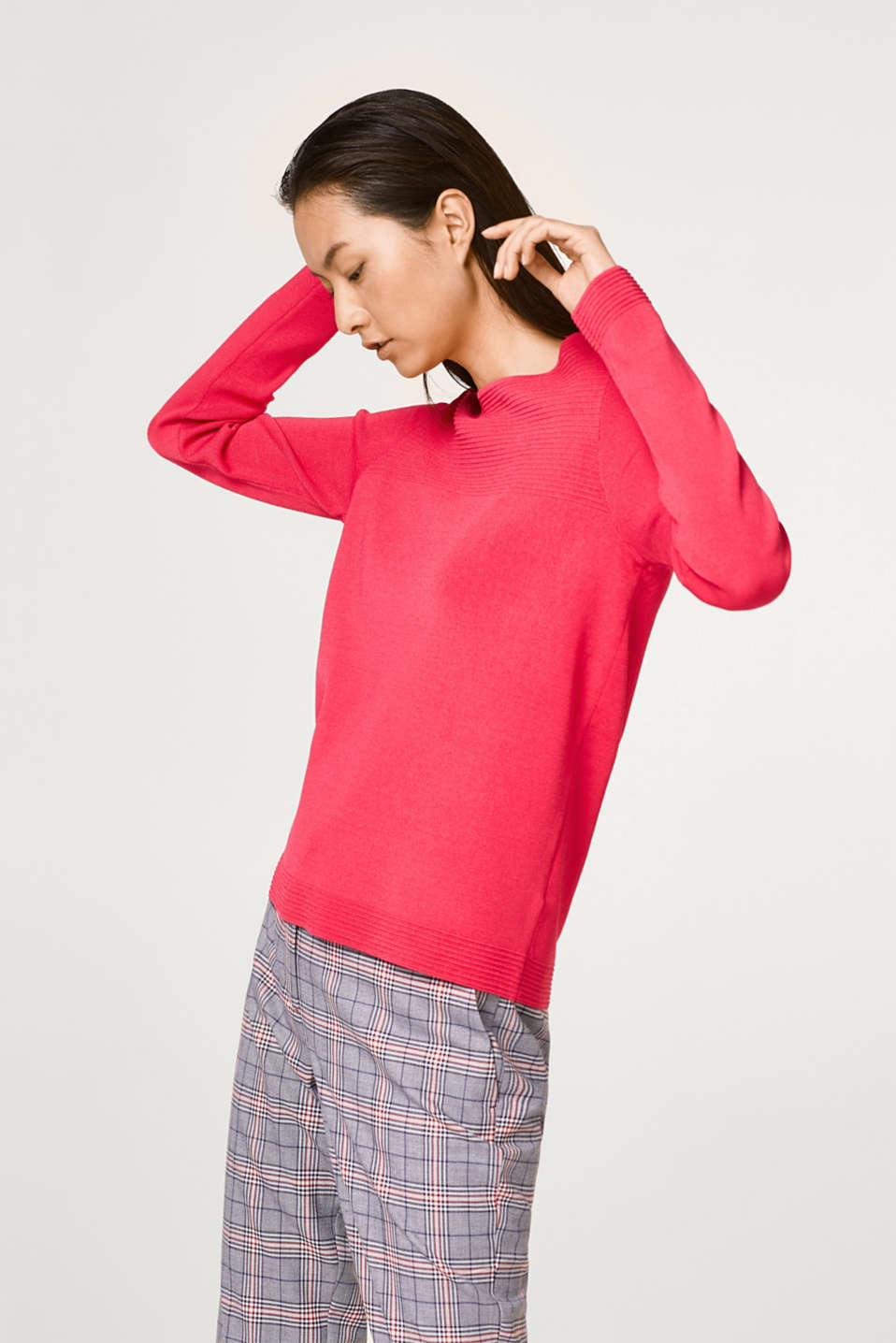 Esprit - Fine knit jumper with striking ribbed details