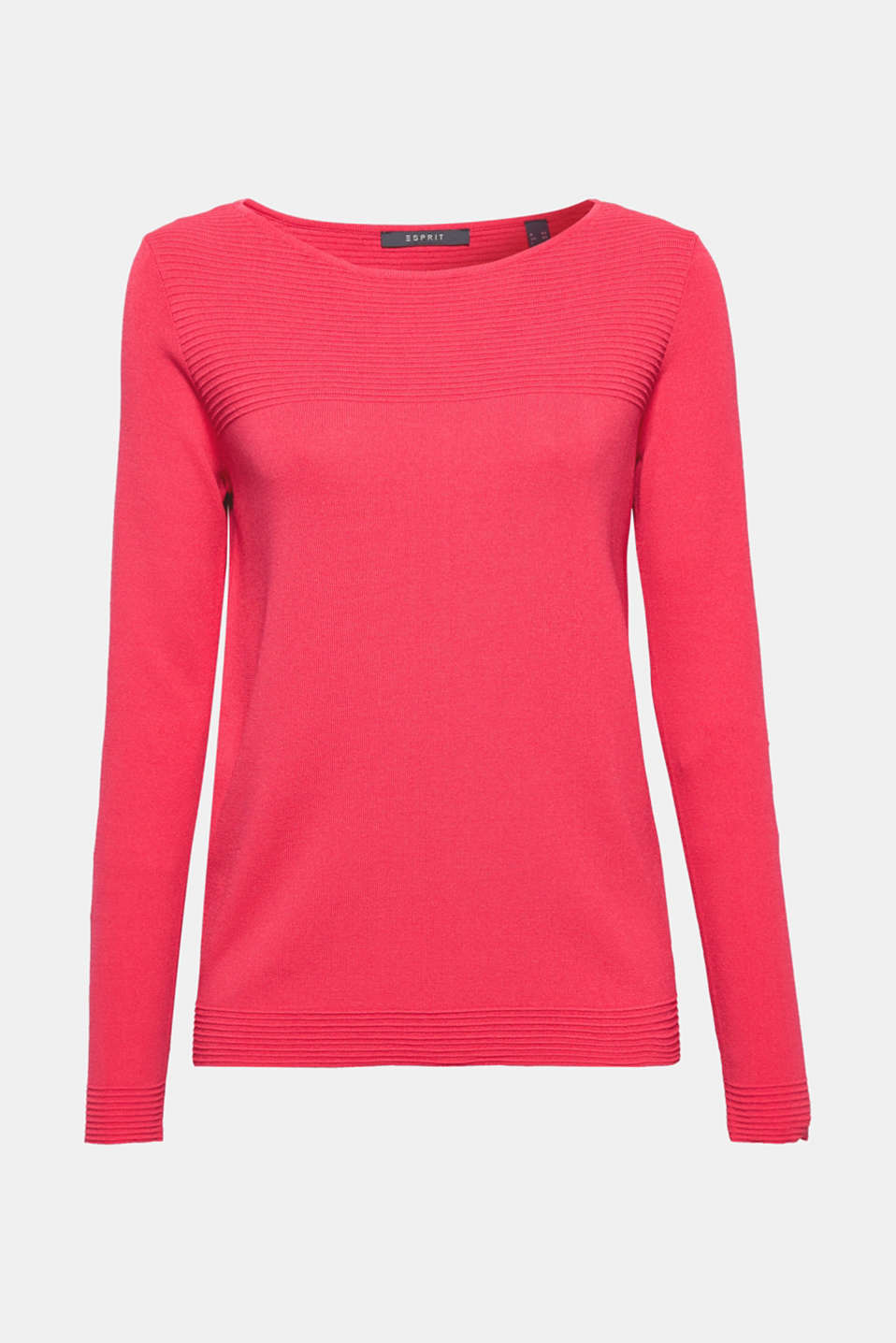 This jumper exudes timeless charm thanks to its fine, firm knit fabric, its straight cut and its striking ribbed details!