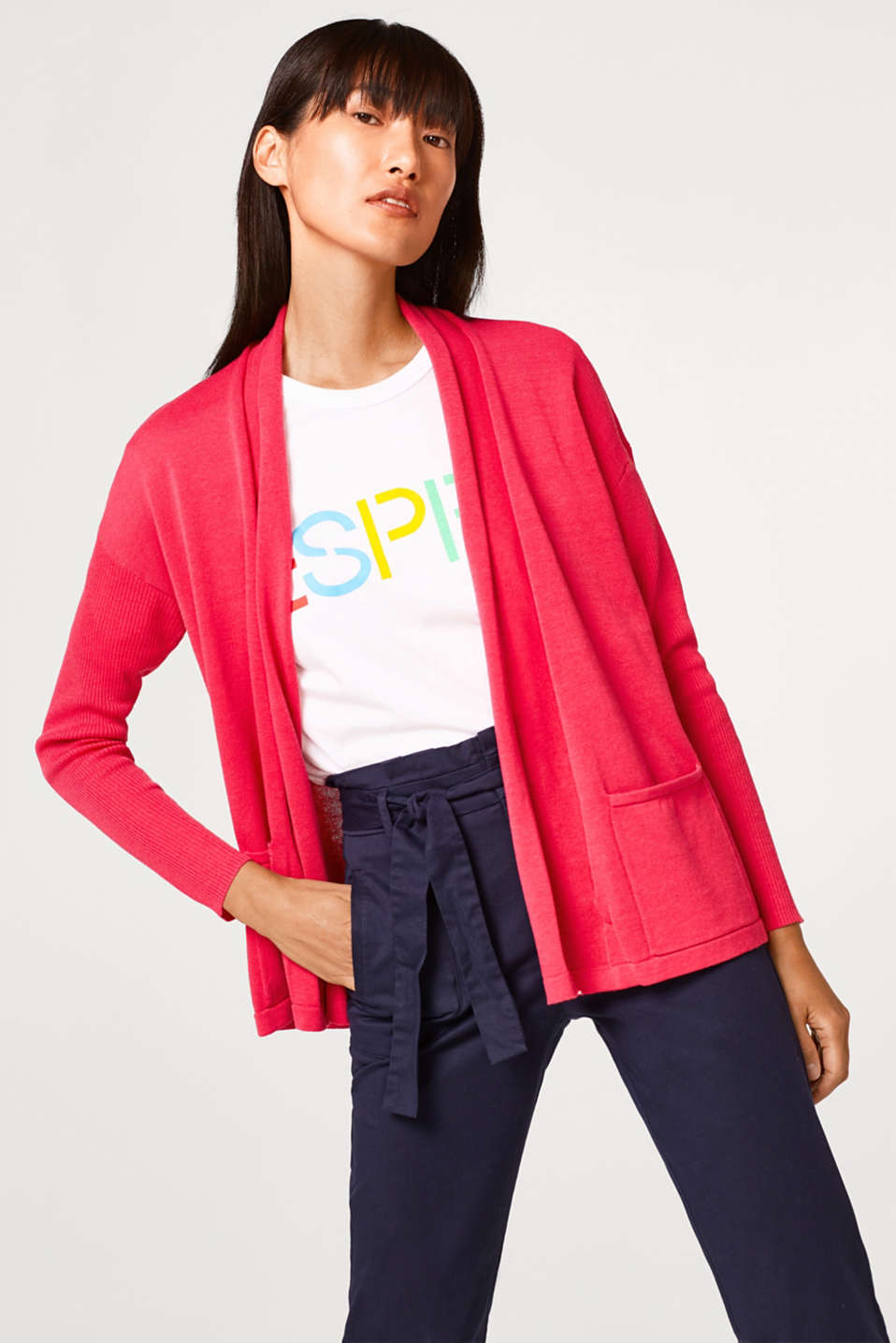 Esprit - Open cardigan with a shawl collar