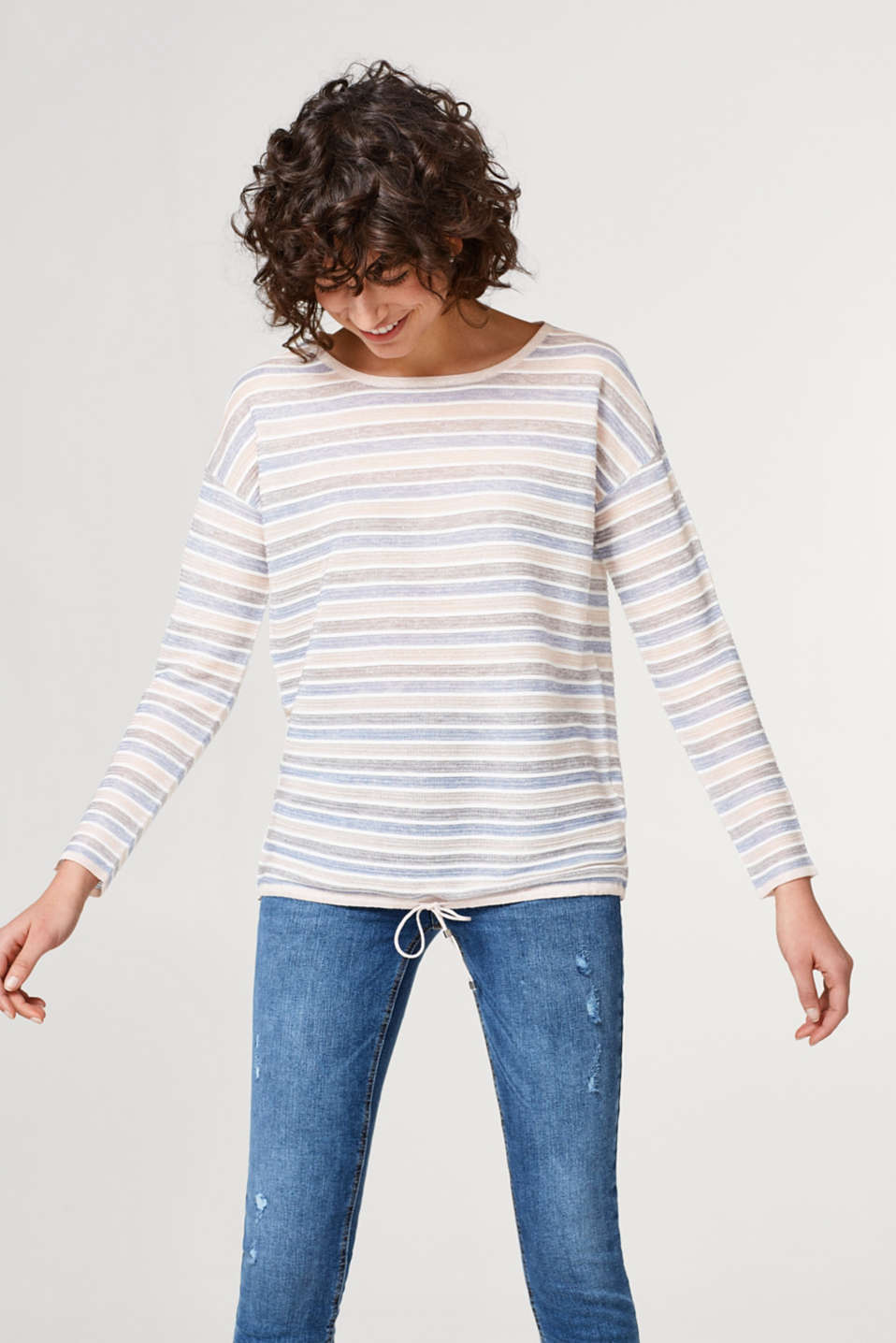 Esprit - Striped sweater with a subtle shimmer