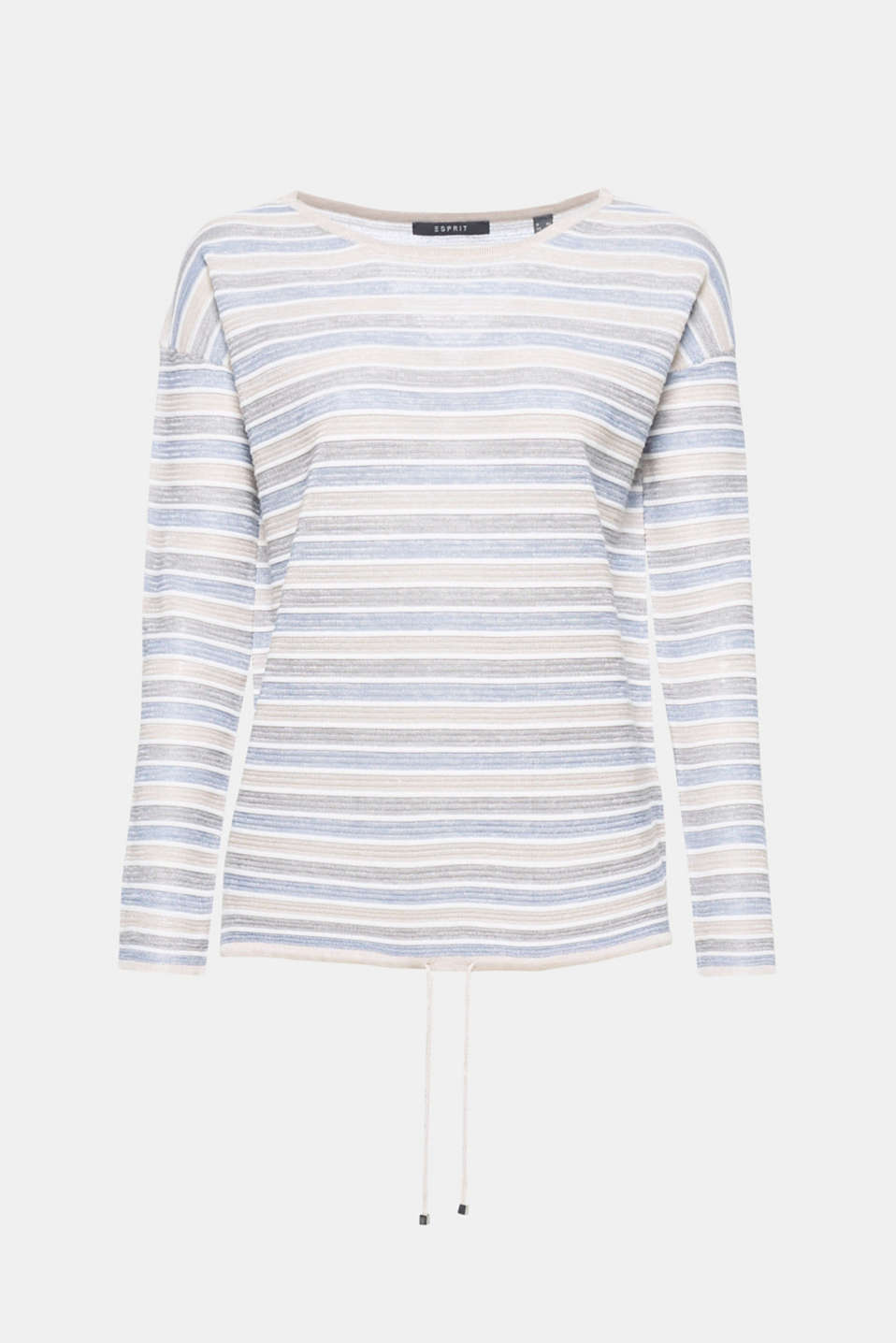 The soft, shimmering striped look and the drawstring tie give this sweater a special style.