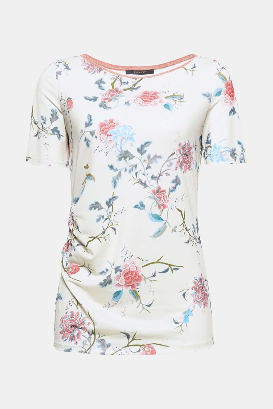 Can't get enough of colourful flowers? Then you will definitely love this stretch top with its floral print and glittery edge on the neckline!