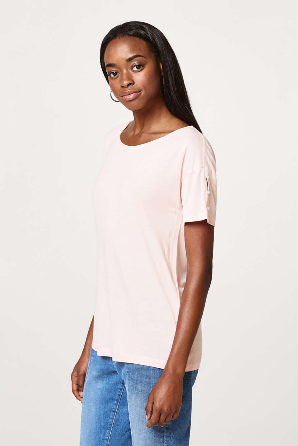 cce6d084b Esprit - Smooth t-shirt with decorative pearls at our Online Shop