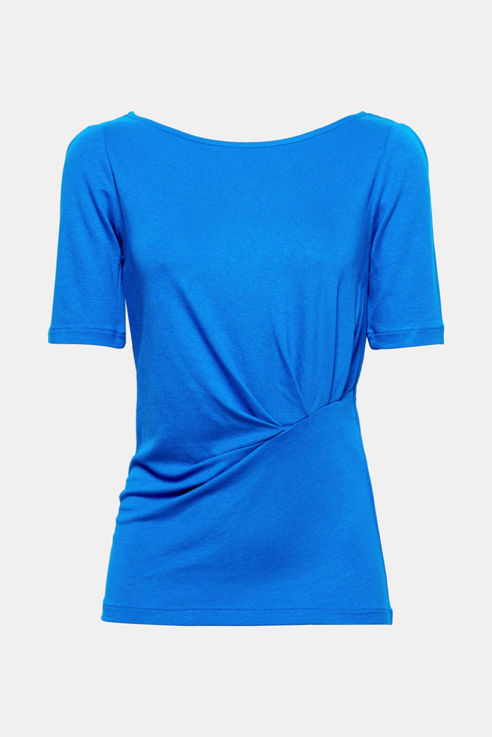 This soft stretch top with a decorative gather at waist height flatters the silhouette!