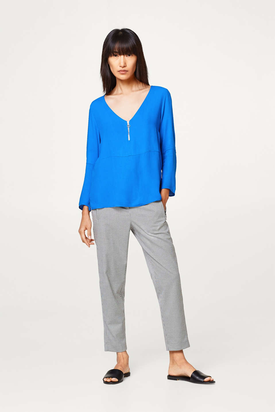 Soft lyocell long-sleeve top with a V-neck