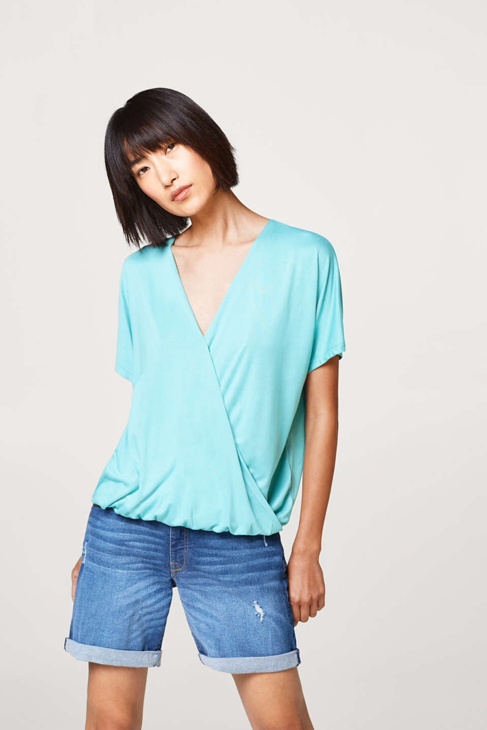 Esprit - Soft batwing top with a wrap-over effect