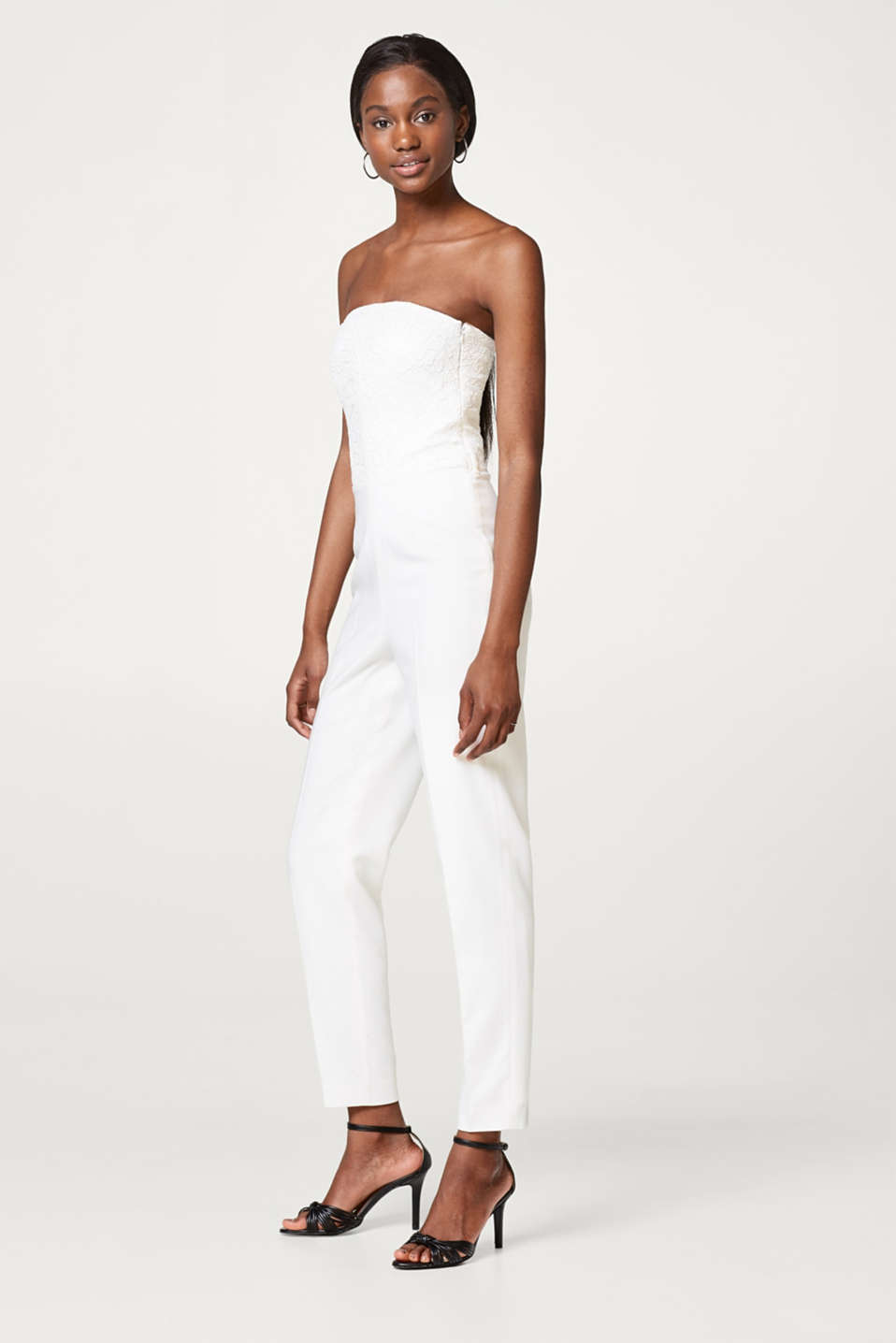 Bridal jumpsuit with a lace bodice