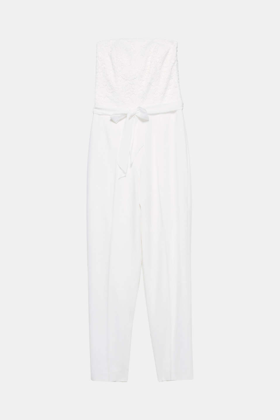 This jumpsuit offers you a modern alternative to a wedding dress with its lace bodice with detachable shoulder straps and its ankle-length trousers!