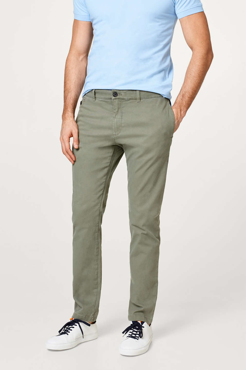 Esprit - Textured chinos in stretch cotton