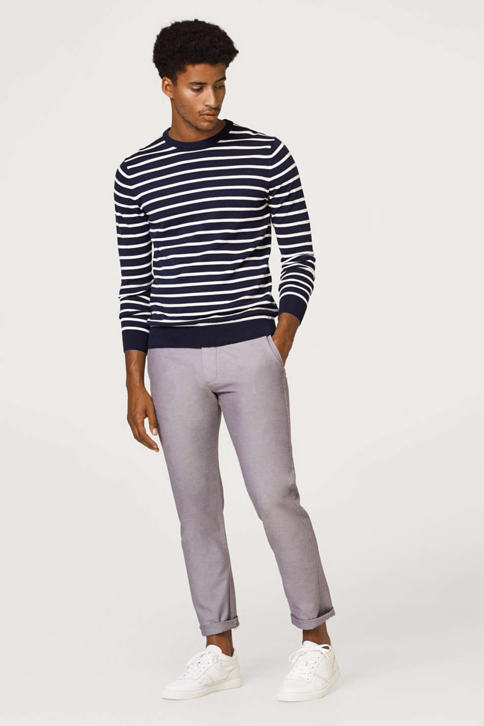 Fine melange twill trousers with stretch for comfort