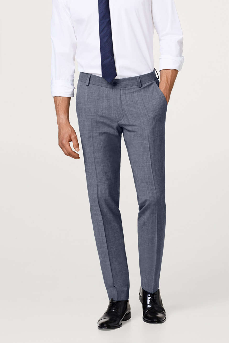 Esprit - Suit trouser with a Prince of Wales pattern and wool