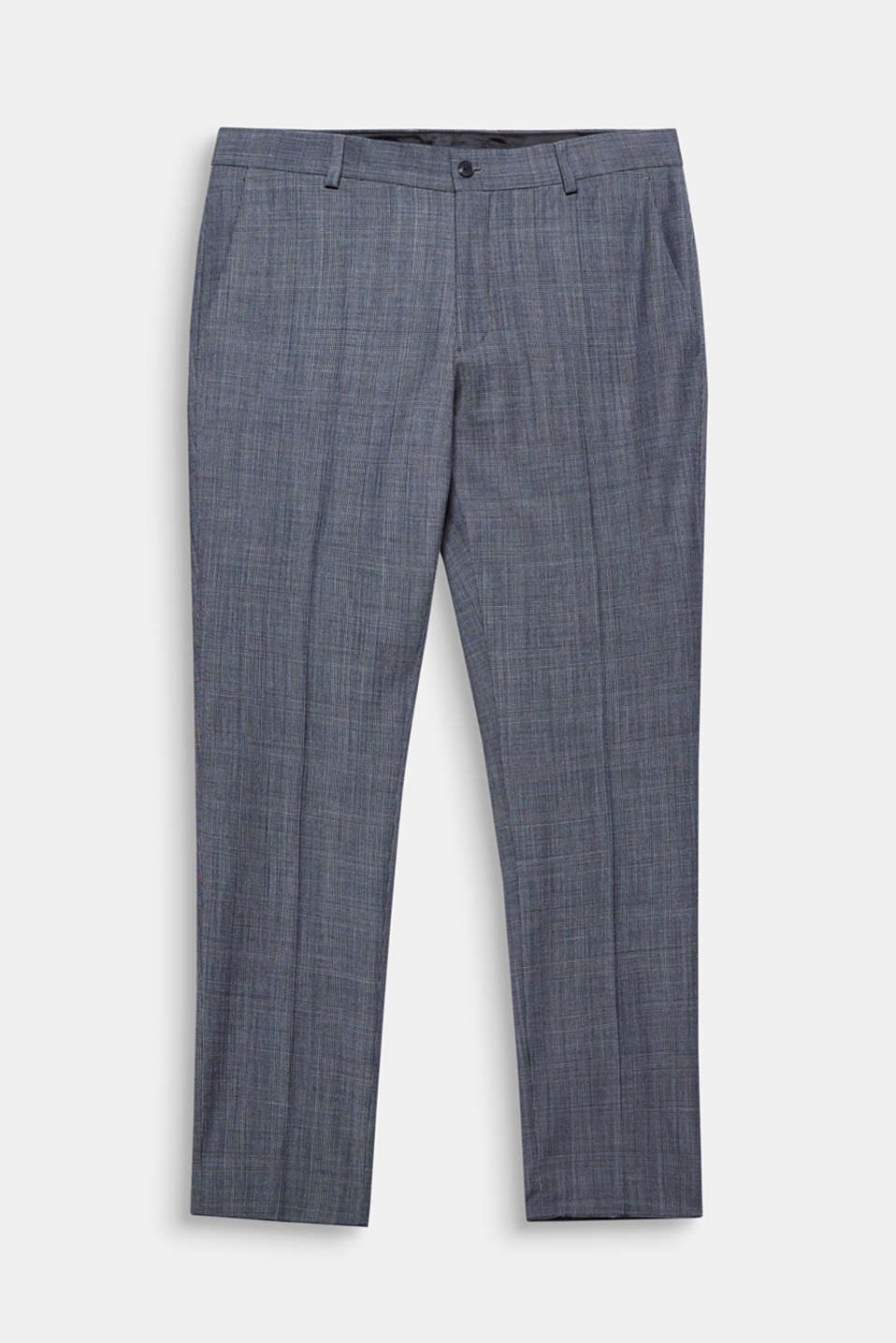 The fine Prince of Wales pattern gives these suit trousers an elegant look.