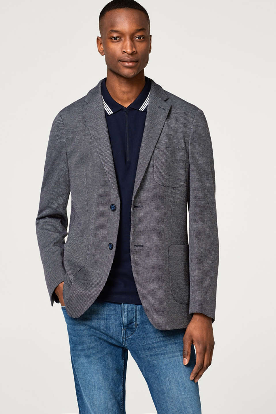Esprit - Sporty blazer with a two-tone texture