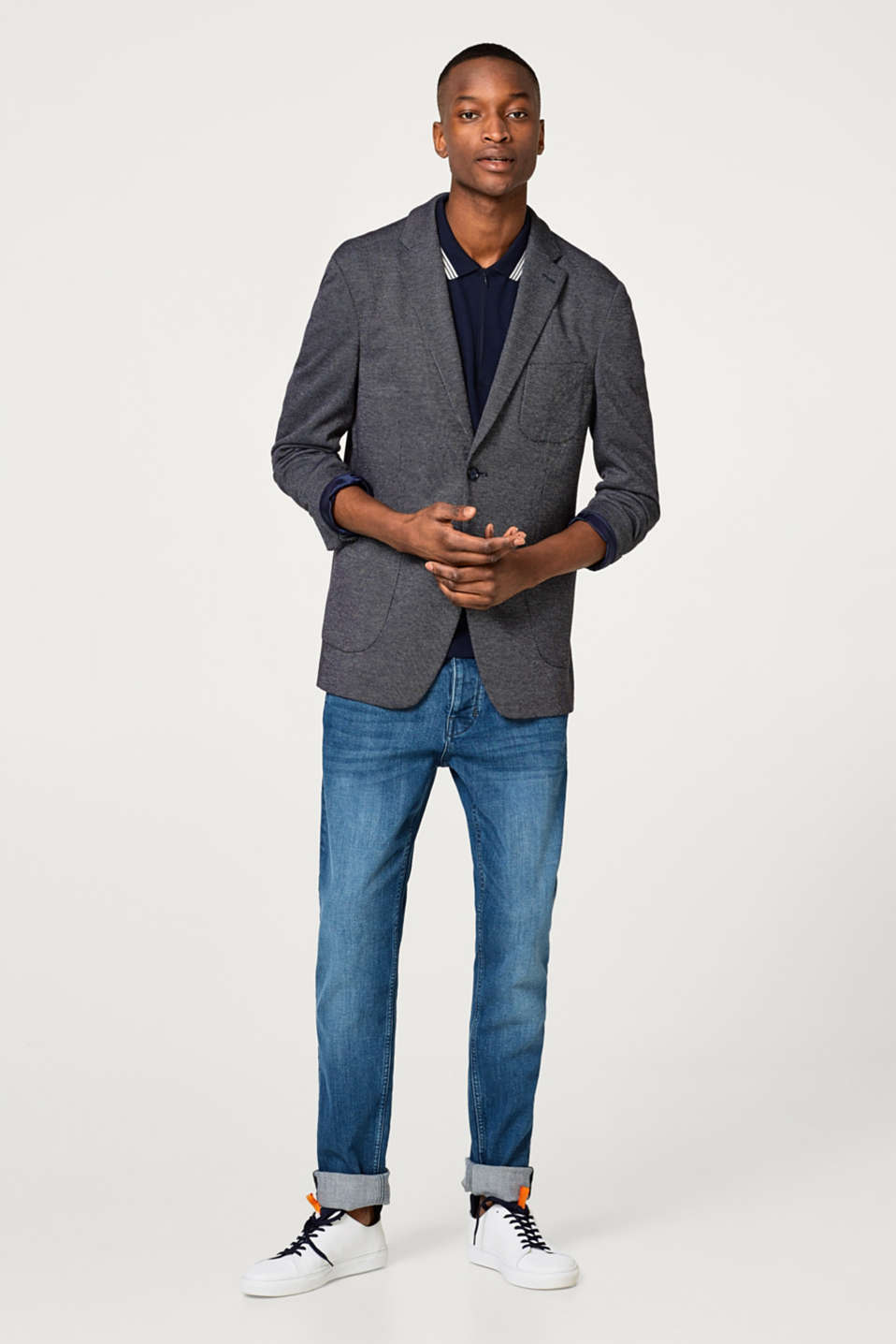Sporty blazer with a two-tone texture