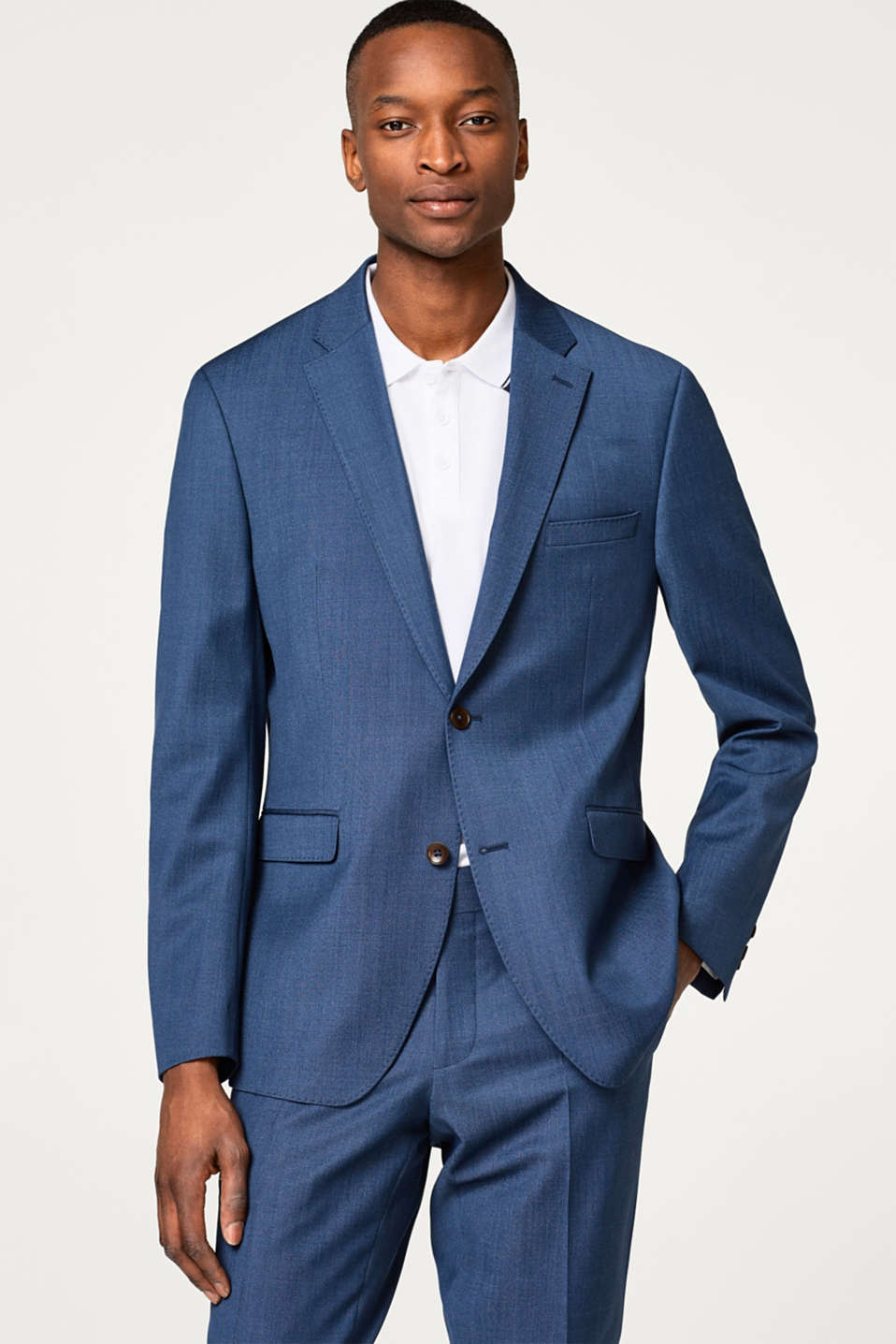 Esprit - ACTIVE SUIT finely textured tailored jacket, wool blend