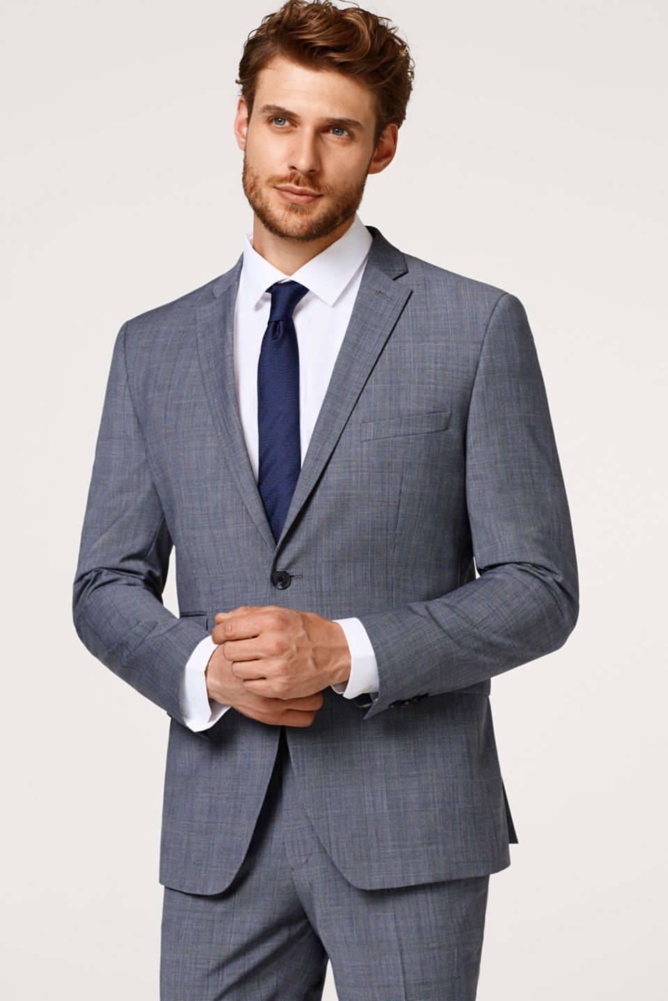 Esprit - Suit jacket with a Prince of Wales pattern and wool
