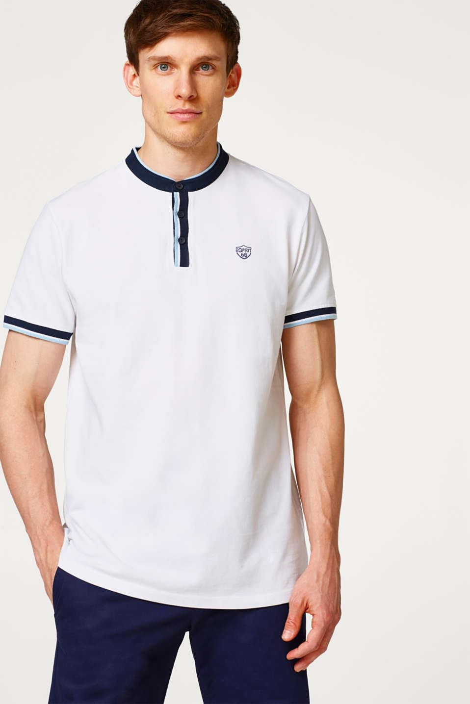 Esprit - Piqué polo shirt with stand-up collar
