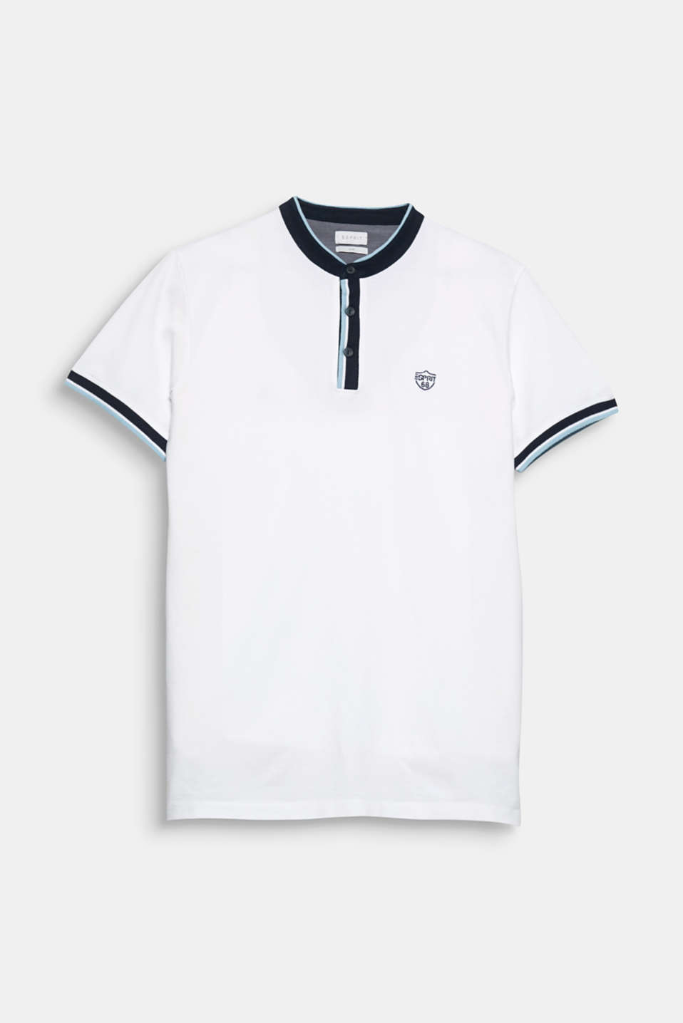 Sporty and modern! The striped stand-up collar and grainy piqué fabric give this polo shirt its look