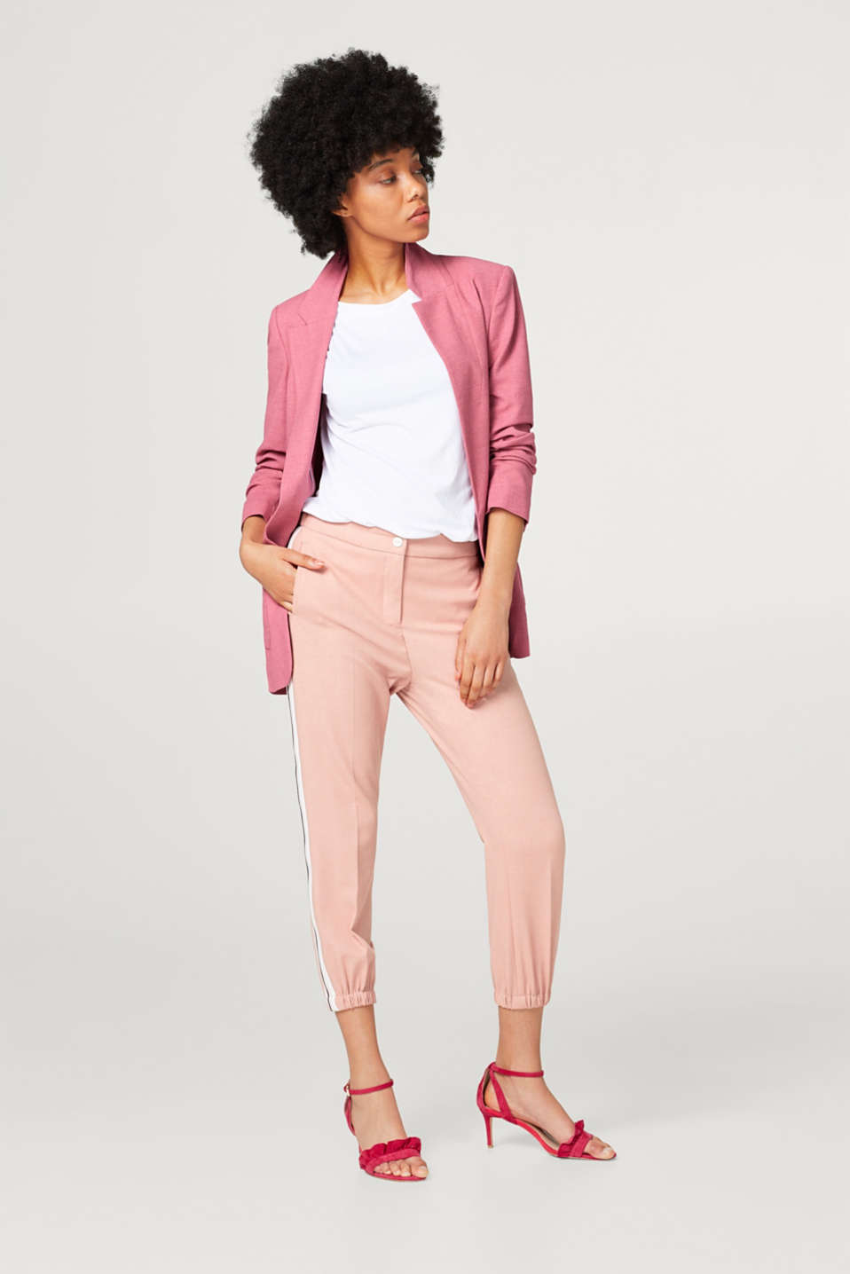 Cropped crêpe trousers in a tracksuit bottoms style