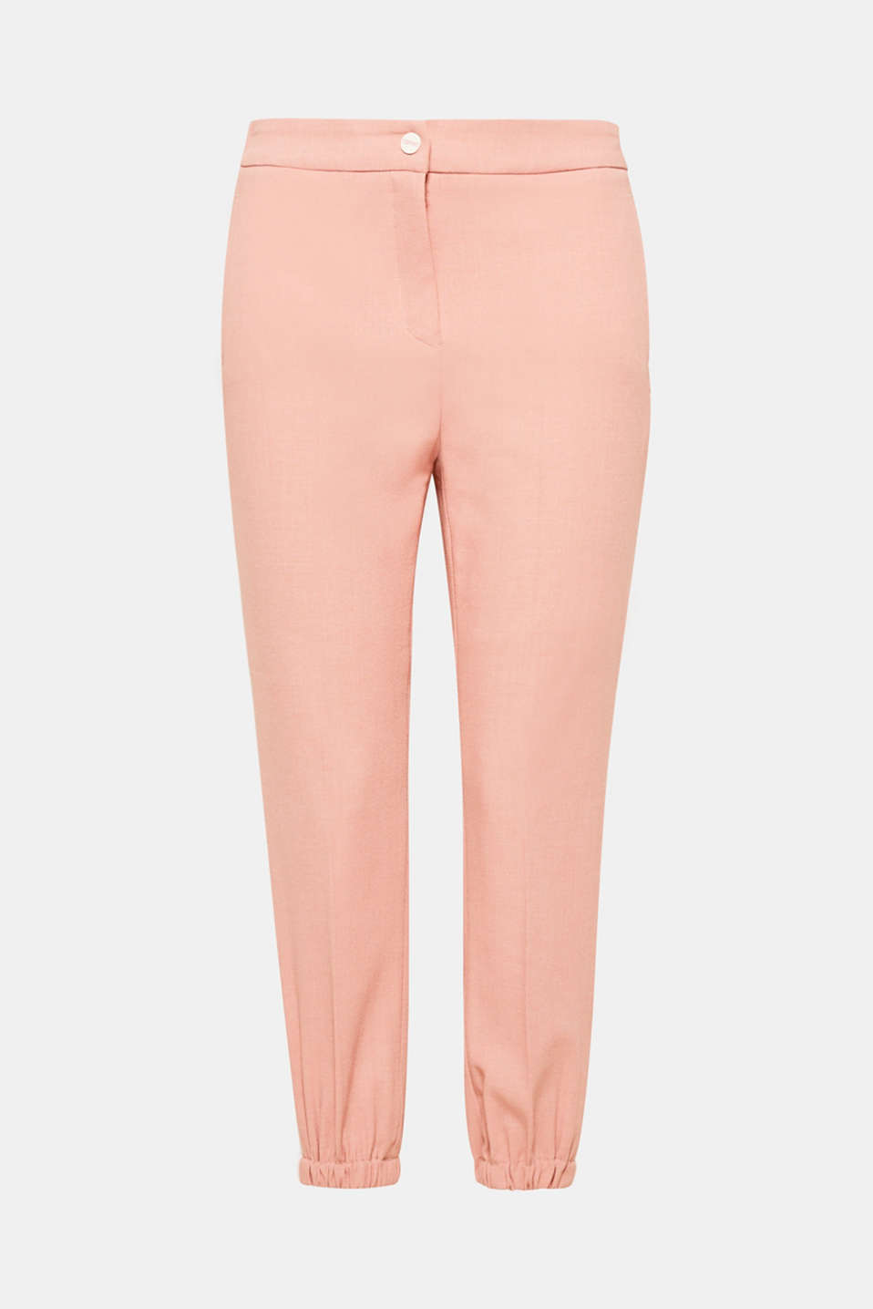 The side stripes and comfortable elasticated waistband and leg cuffs give these stretchy crêpe trousers their fashionable look.