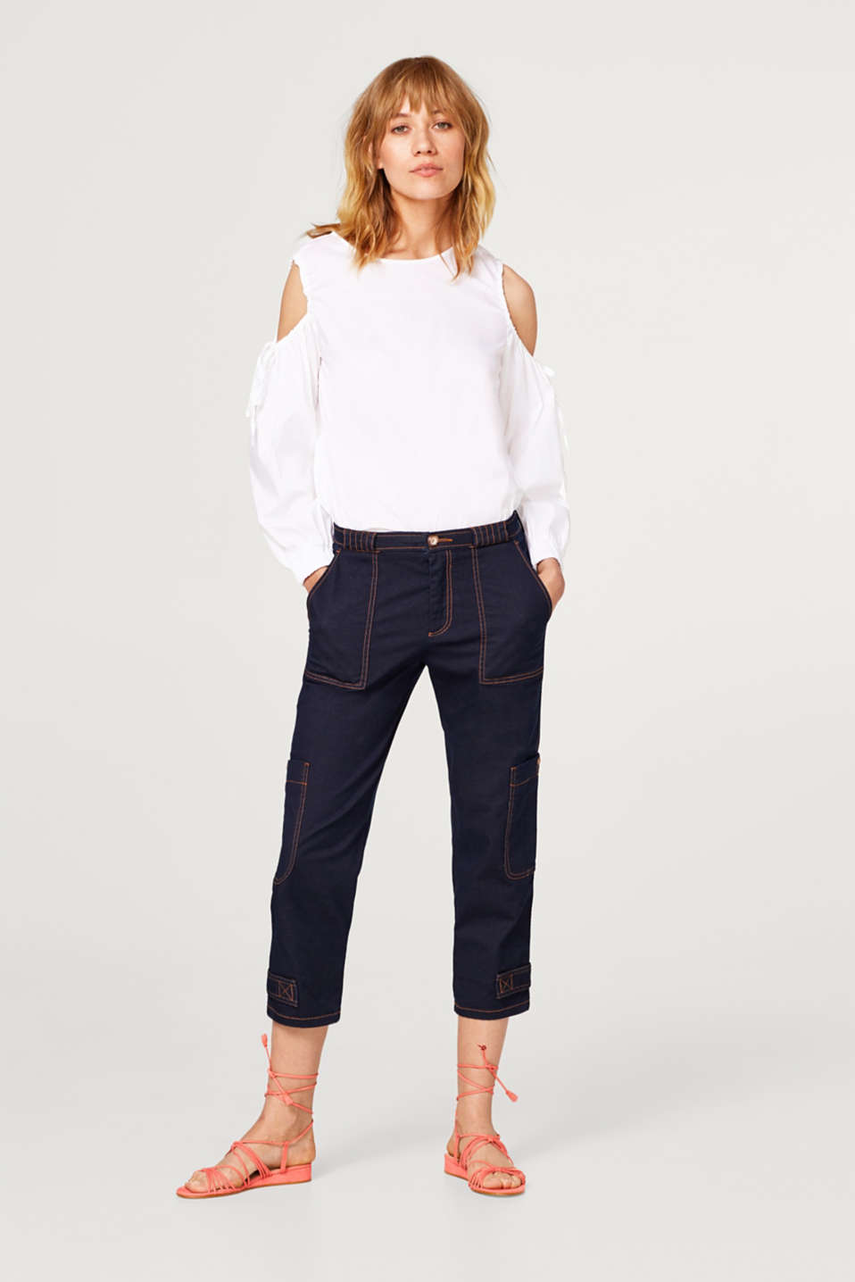 Casual cargo trousers in 7/8 length