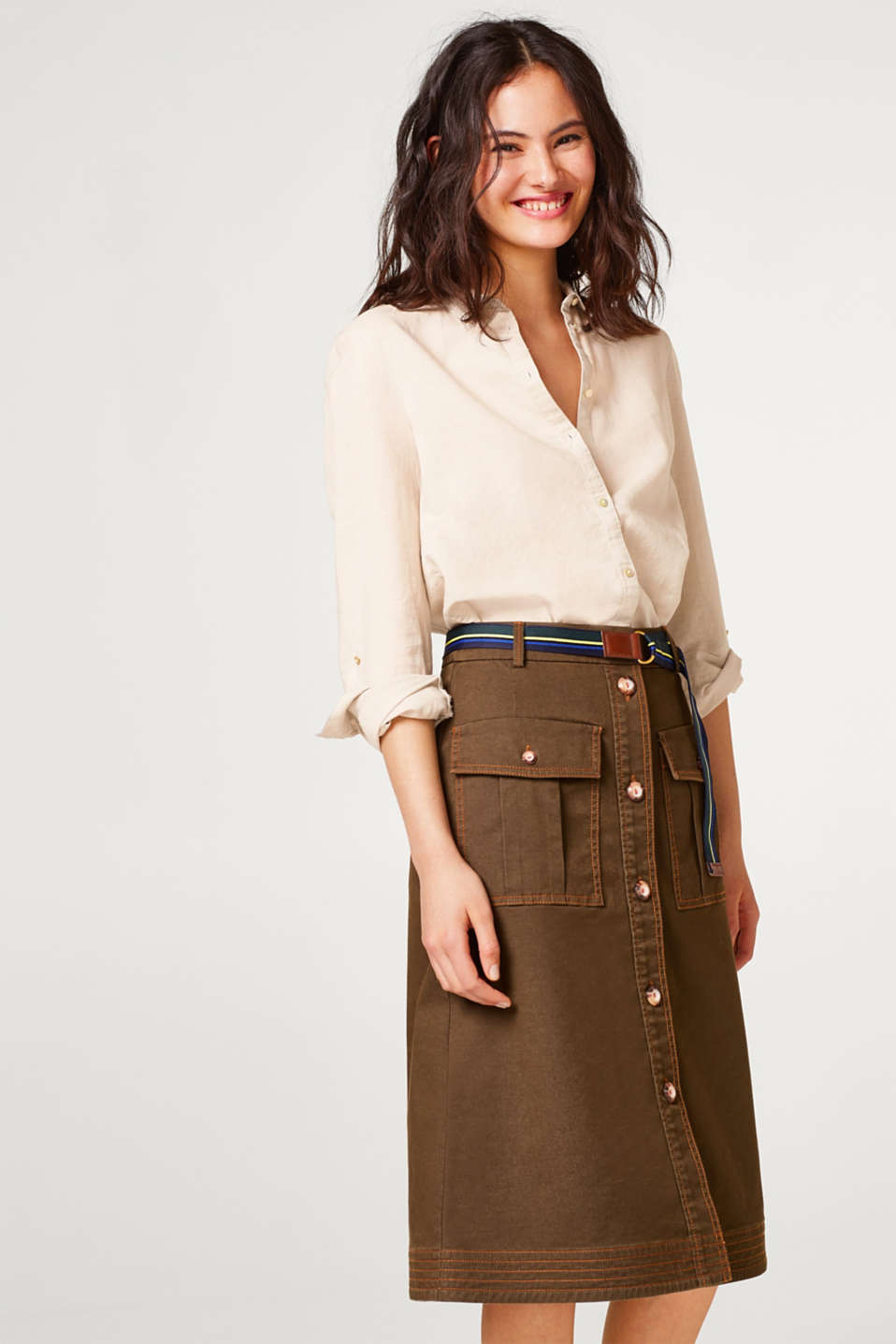 Esprit - Midi skirt with a belt and pockets