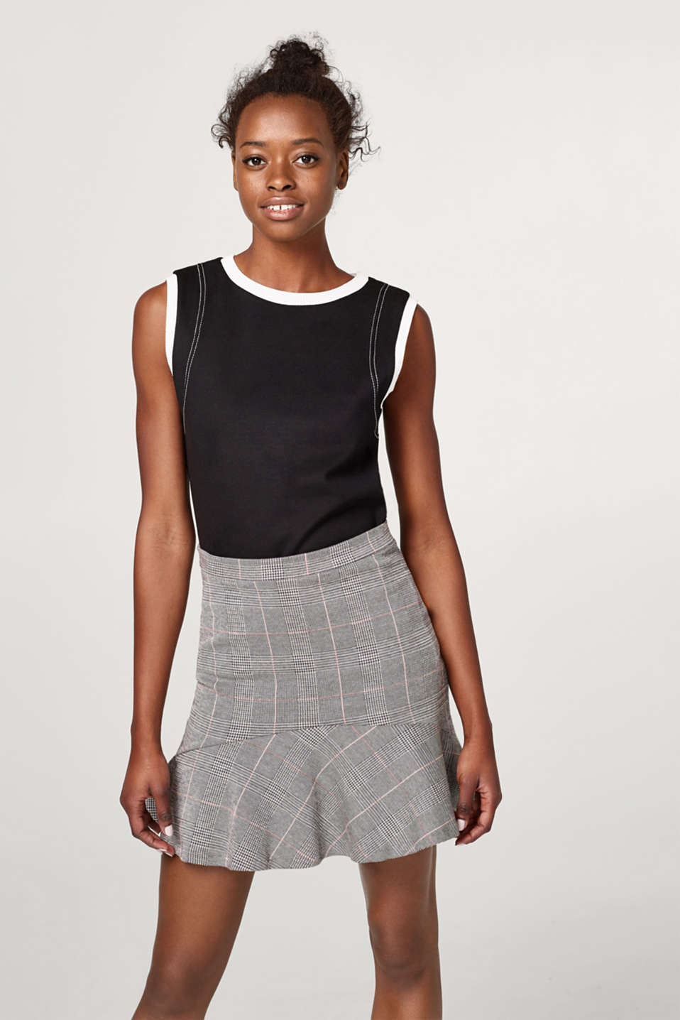 Esprit - Check skirt with a hem frill